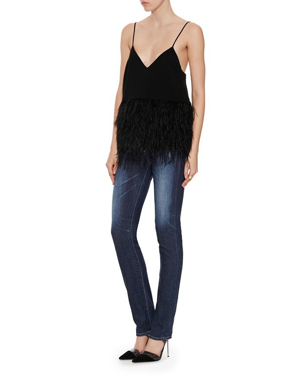 Elizabeth And James Feather Detail Top In Black Lyst