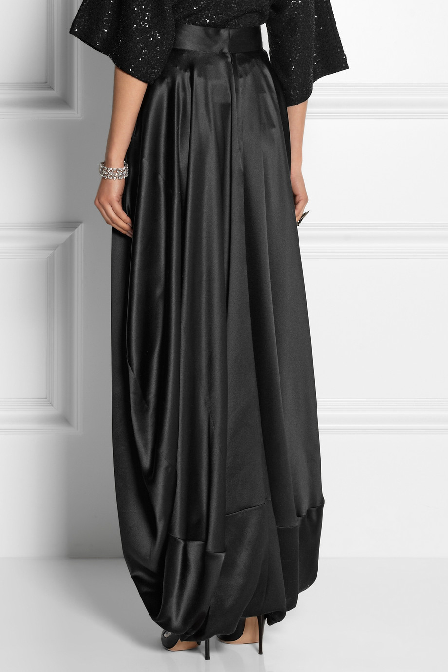 Oscar de la renta Silk-Satin Maxi Skirt in Black | Lyst