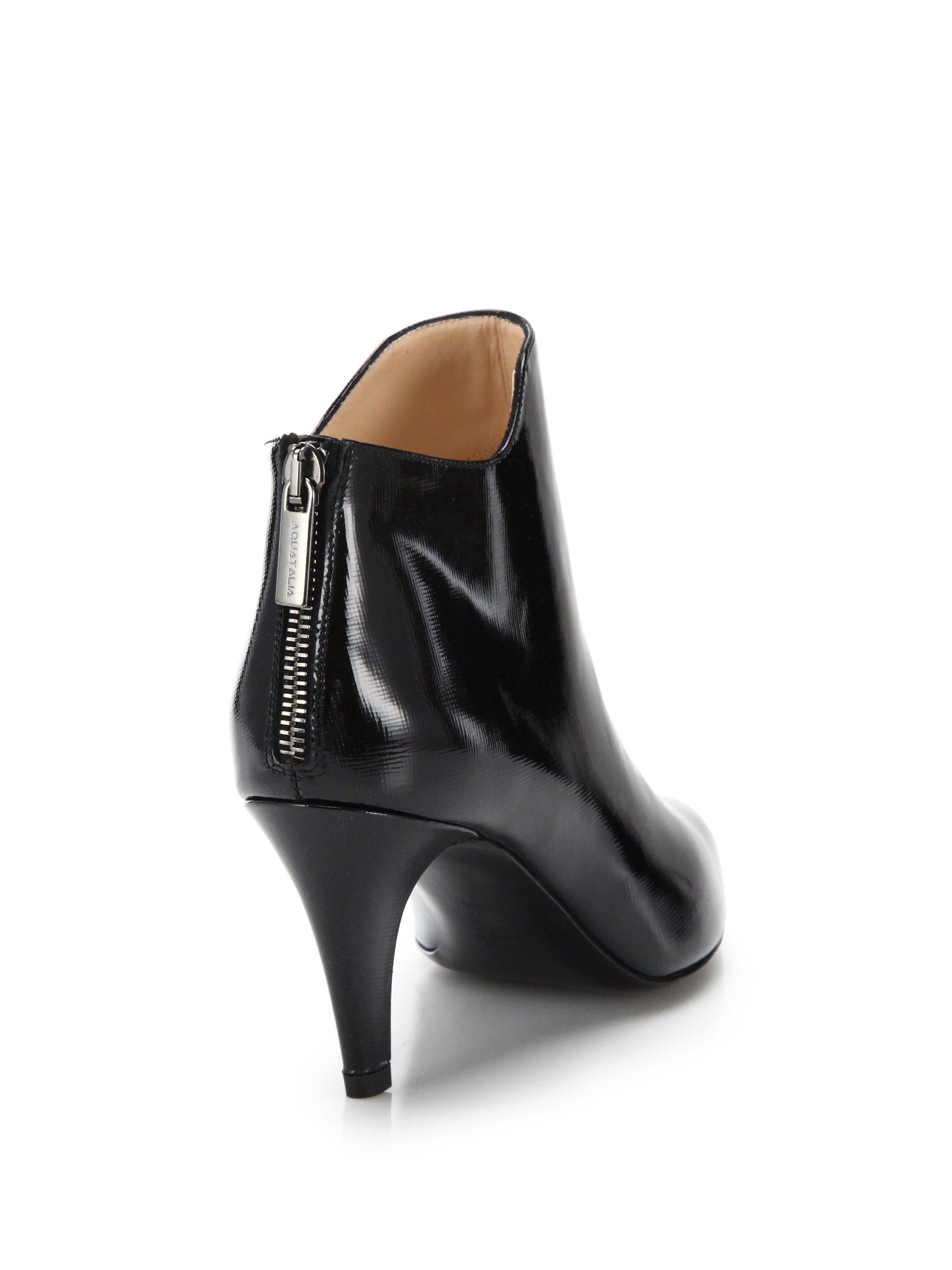 Aquatalia Sala Patent Leather Booties In Black Lyst
