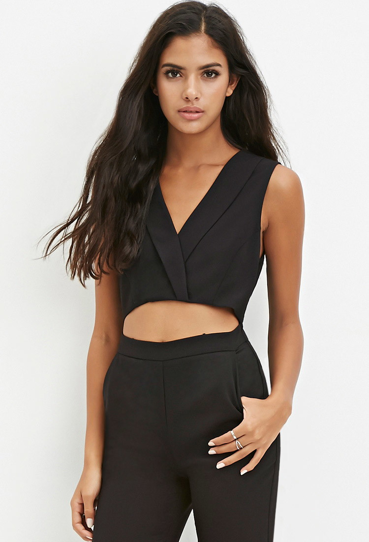 fdec275cf11 Lyst - Forever 21 Cutout Jumpsuit in Black