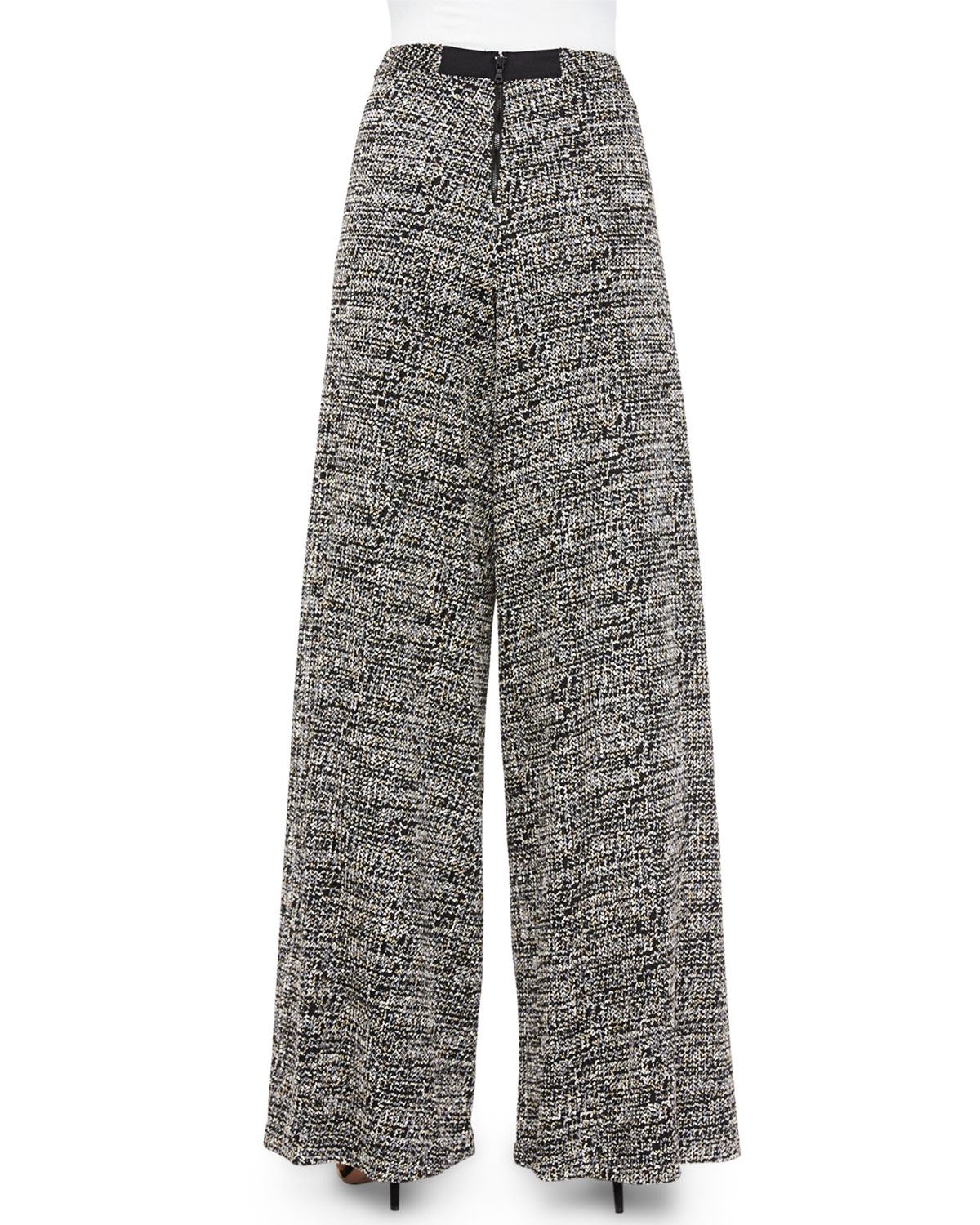 Alice   olivia Tweed Super-flared Wide-leg Pants in Gray | Lyst