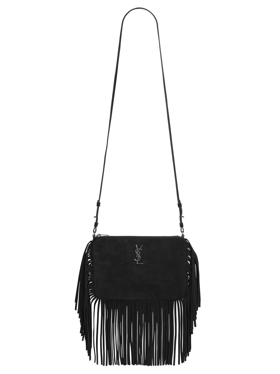 ysl cabas chyc medium - monogram suede fringe shoulder bag