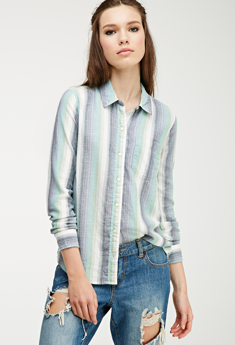 Forever 21 multi striped flannel shirt in blue lyst for Flannel shirts for womens forever 21