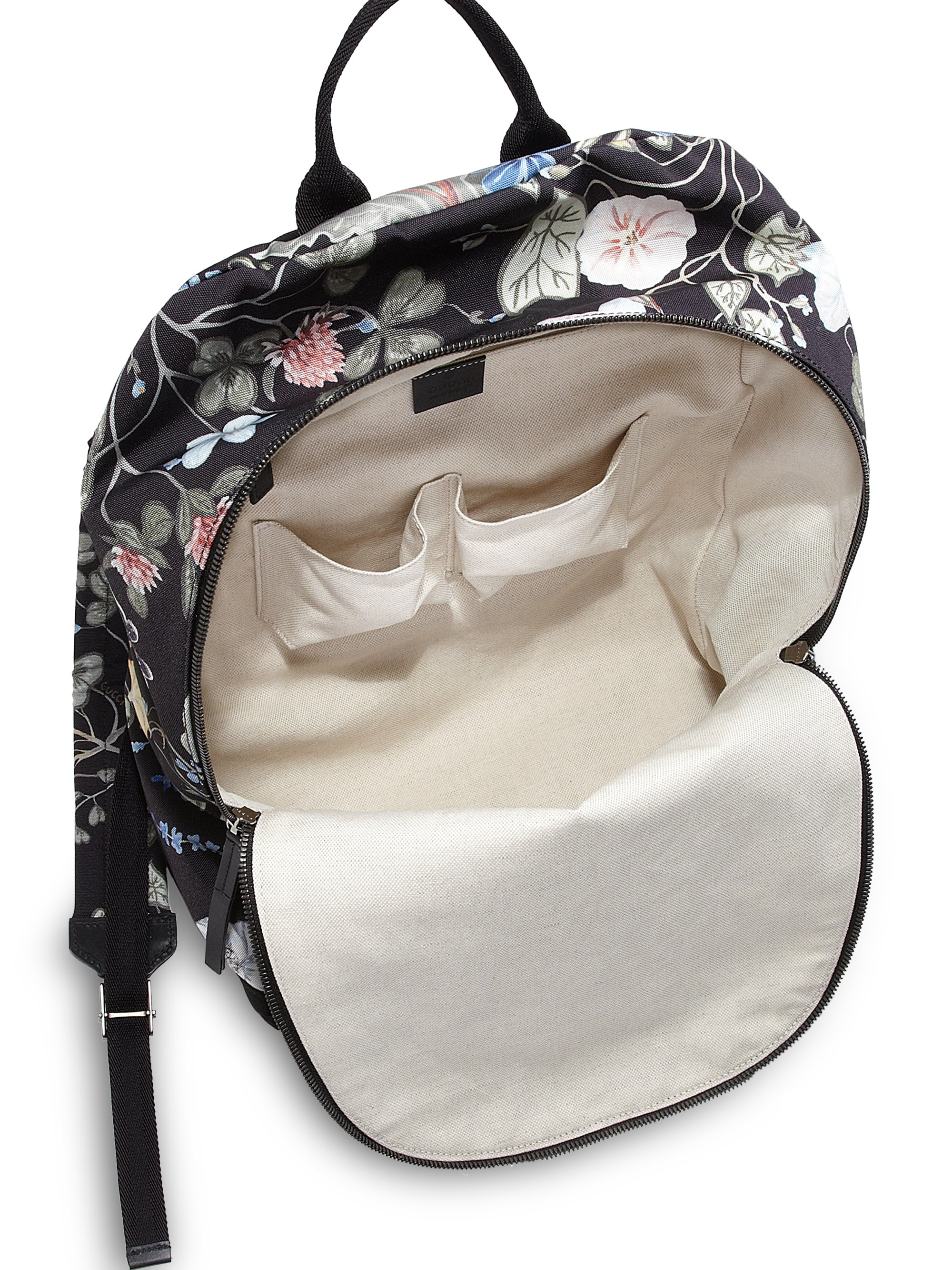 94a66acc111 Lyst - Gucci D-Active Flora Knight Print Canvas Backpack in Black