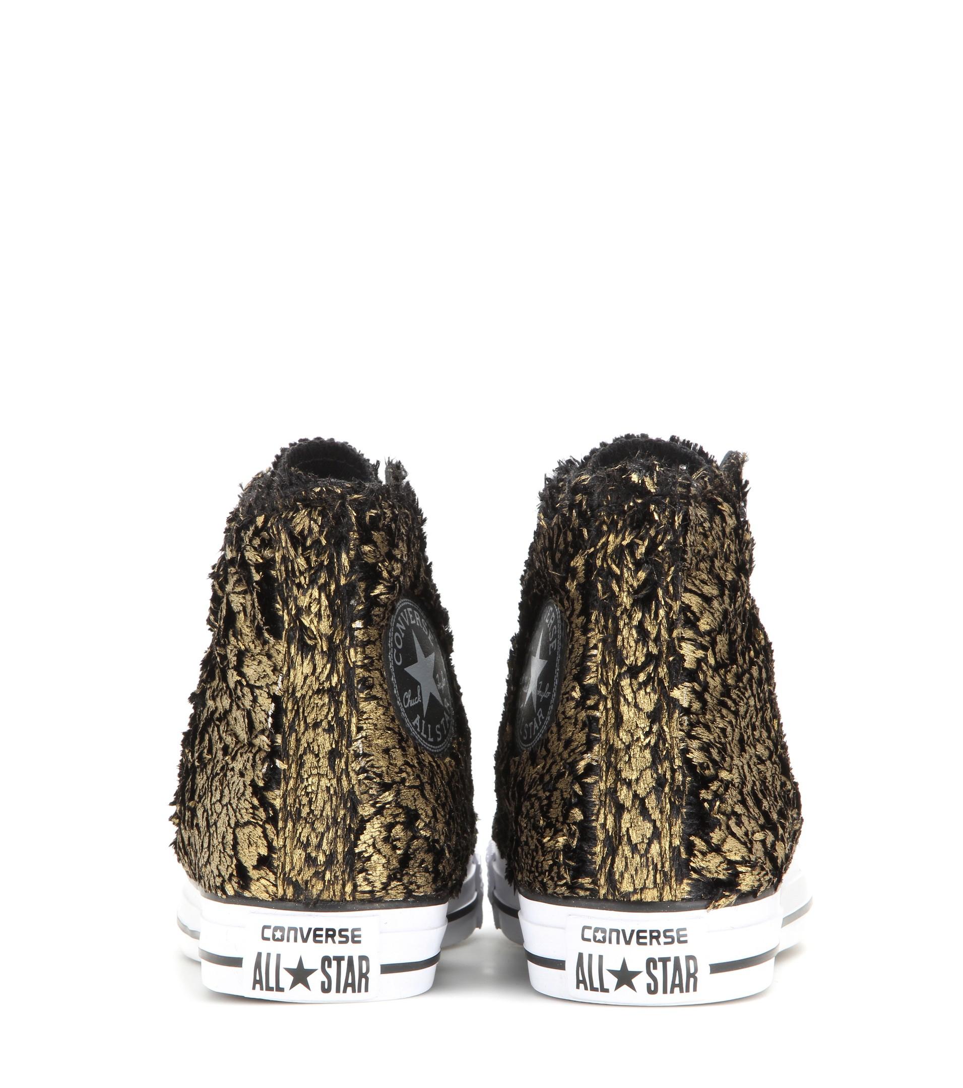 eabc243ec23c Lyst - Converse Chuck Taylor All Star Metallic Faux Fur High-top Sneakers  in Metallic
