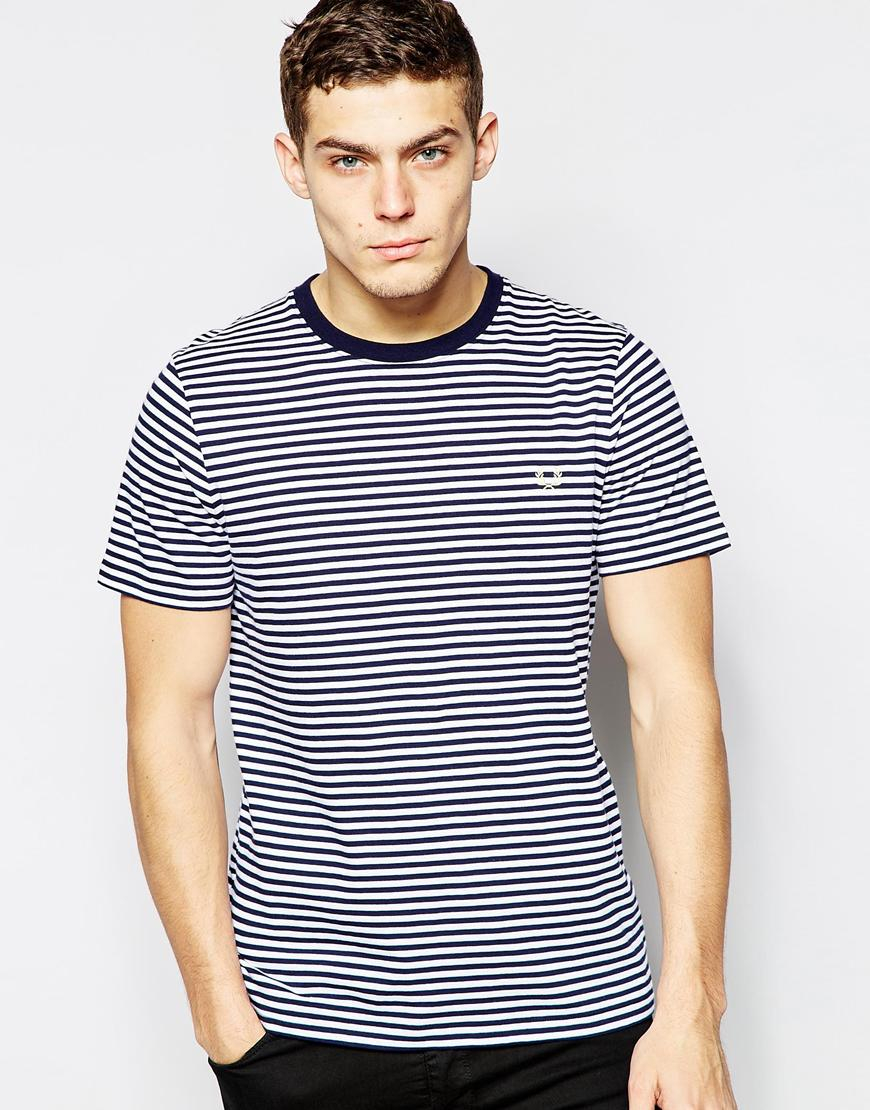 fred perry t shirt with breton stripe in blue for men lyst. Black Bedroom Furniture Sets. Home Design Ideas