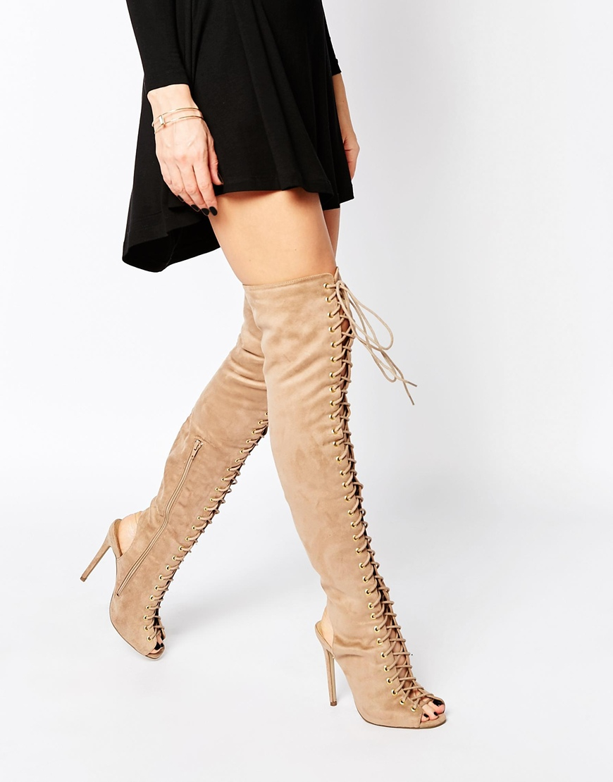 0ec60dfd8f87 Missguided Over The Knee Lace Up Boot in Brown - Lyst
