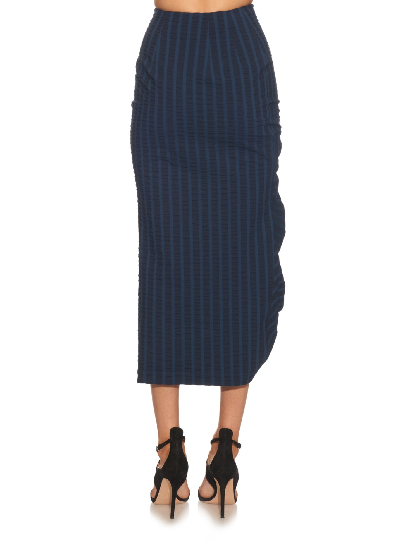 awake striped ruched midi skirt in blue lyst