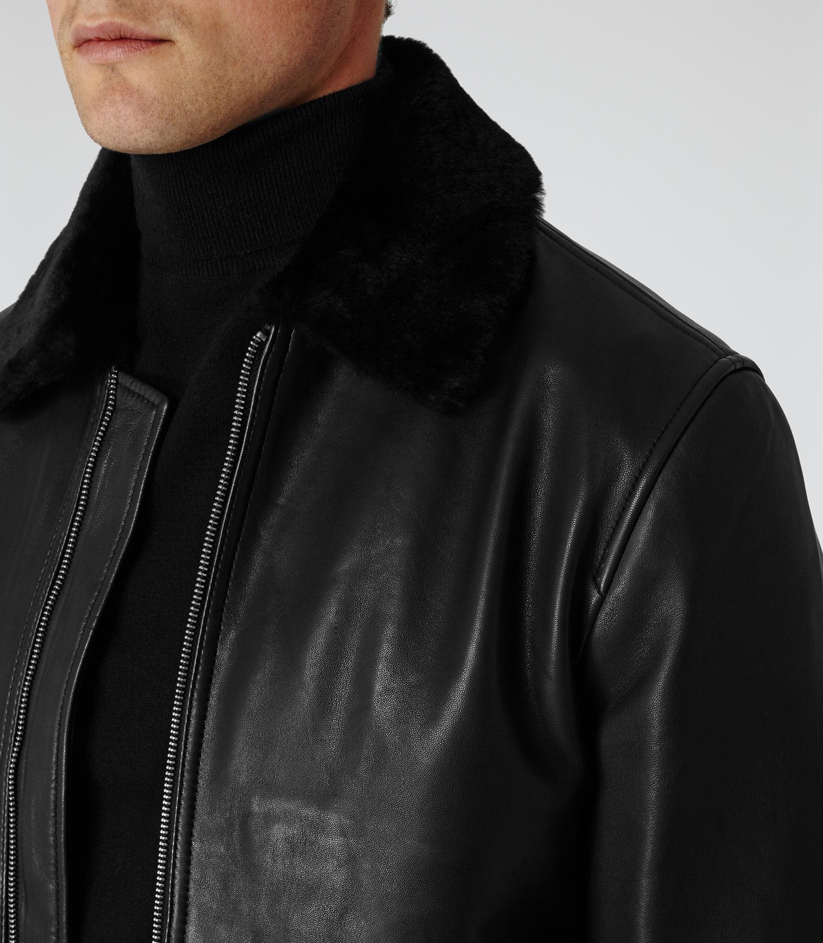 326f26ea6 Mens leather jacket fur collar : Desert tires