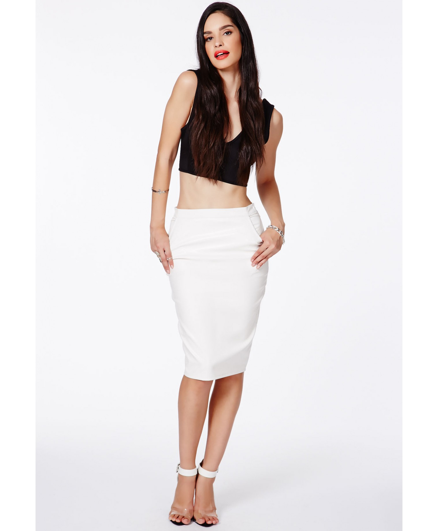 Missguided Mariota White Faux Leather Pencil Skirt in White | Lyst