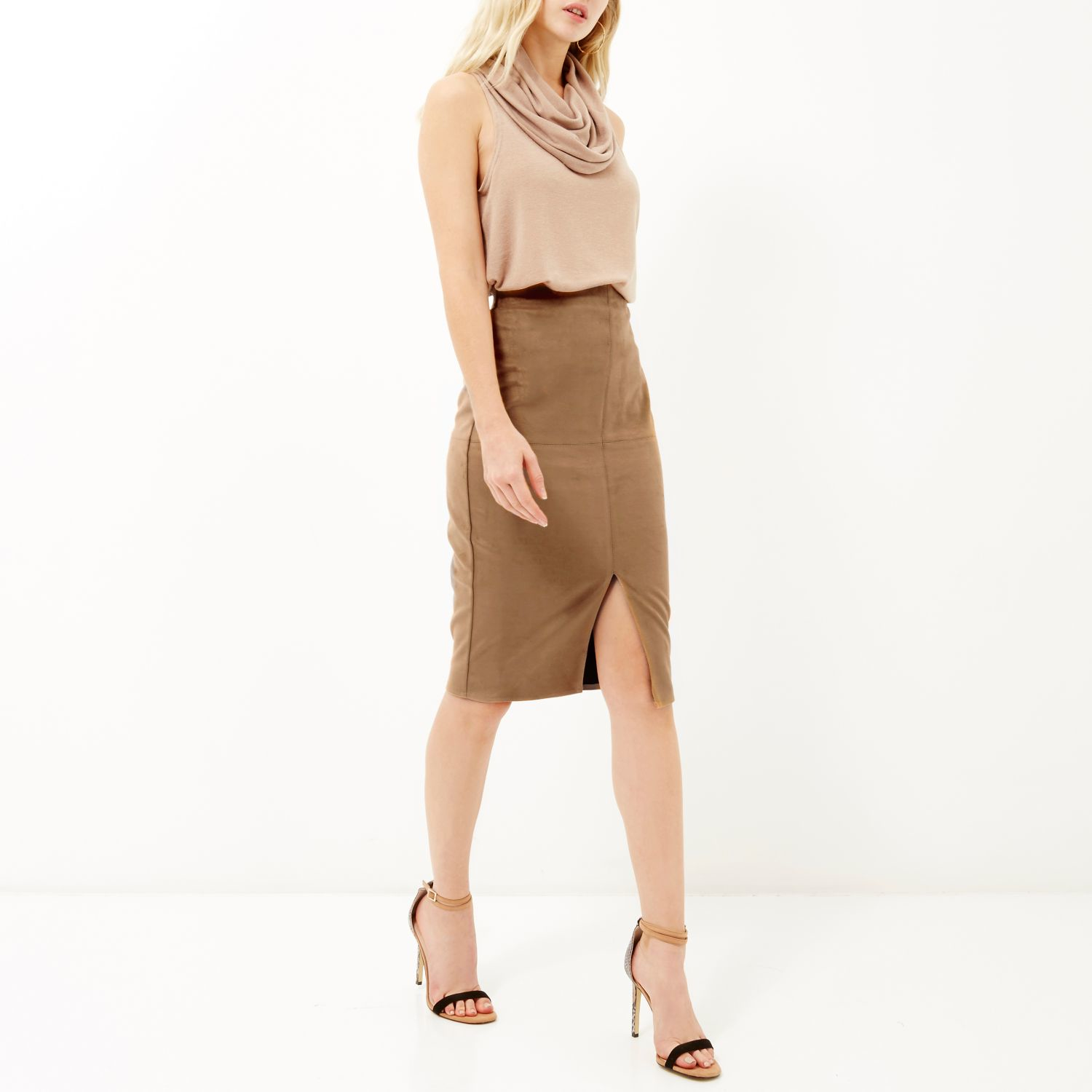 River island Tan Brown Faux-suede Split Front Pencil Skirt in ...