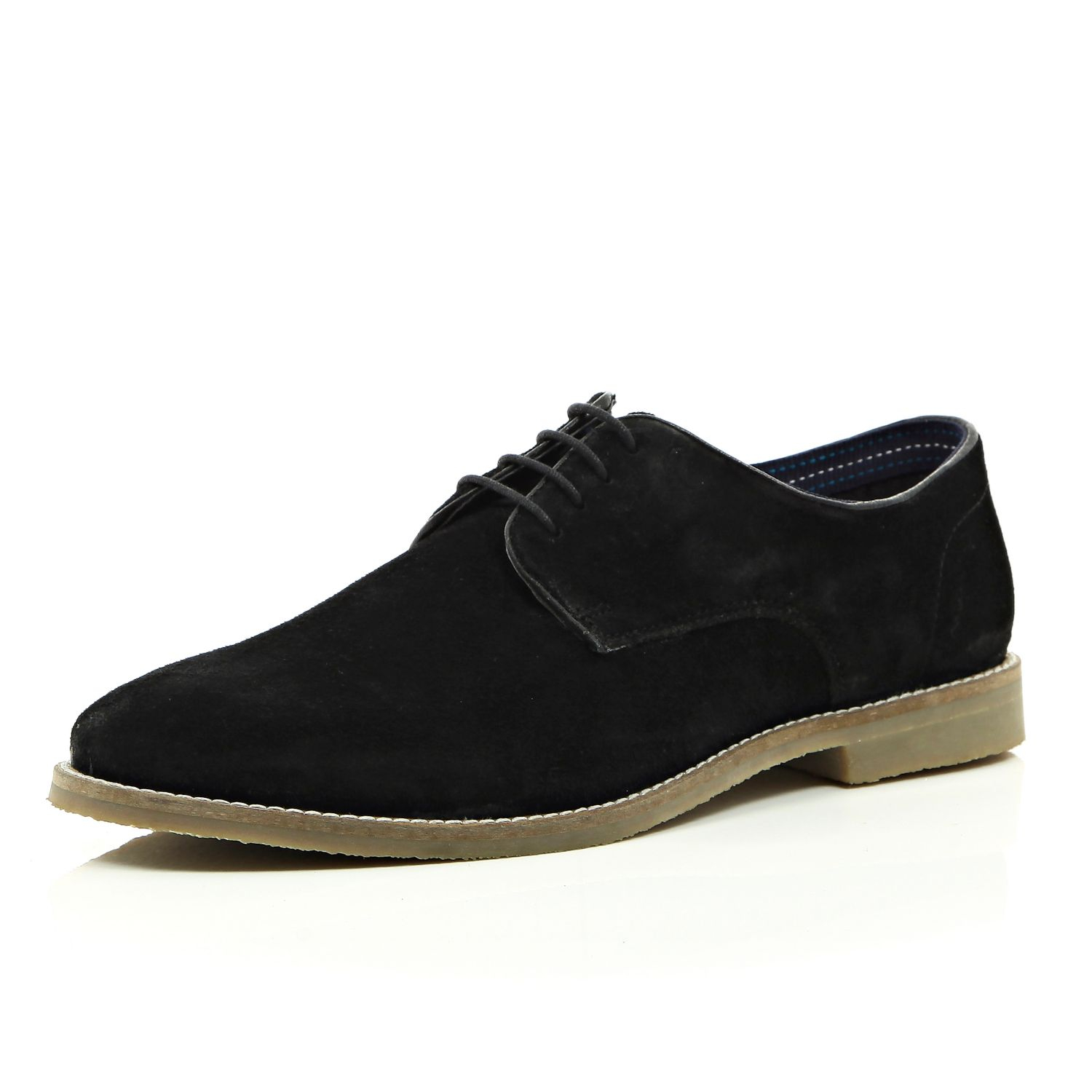 river island black suede formal shoes in black for lyst