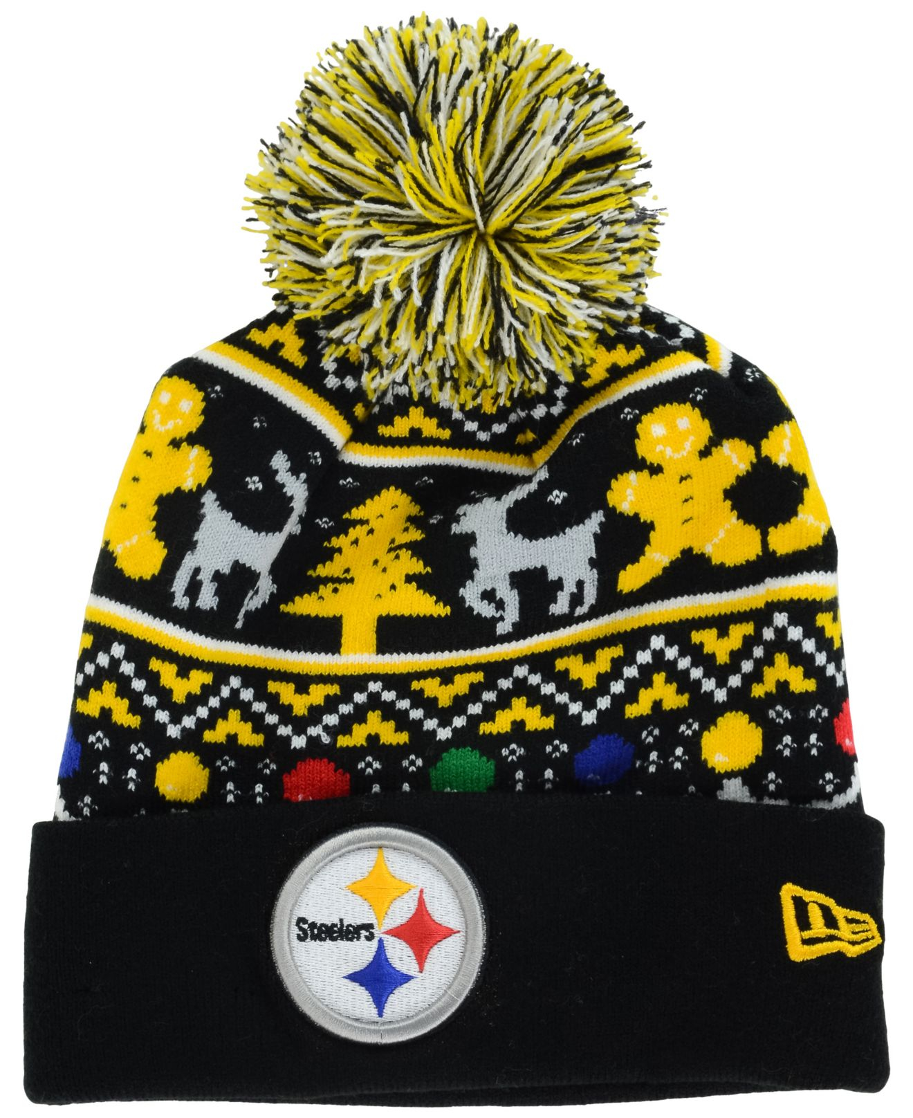 Ktz Pittsburgh Steelers Christmas Sweater Pom Knit Hat for Men | Lyst