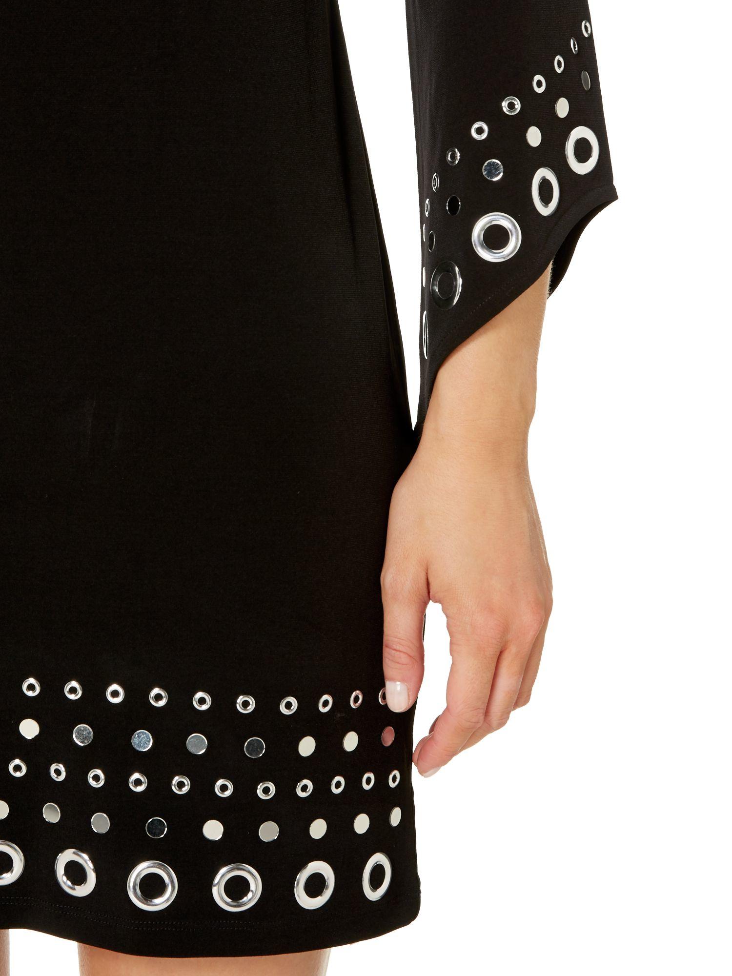 Michael Kors Grommet Embellished Hem Dress In Black Lyst