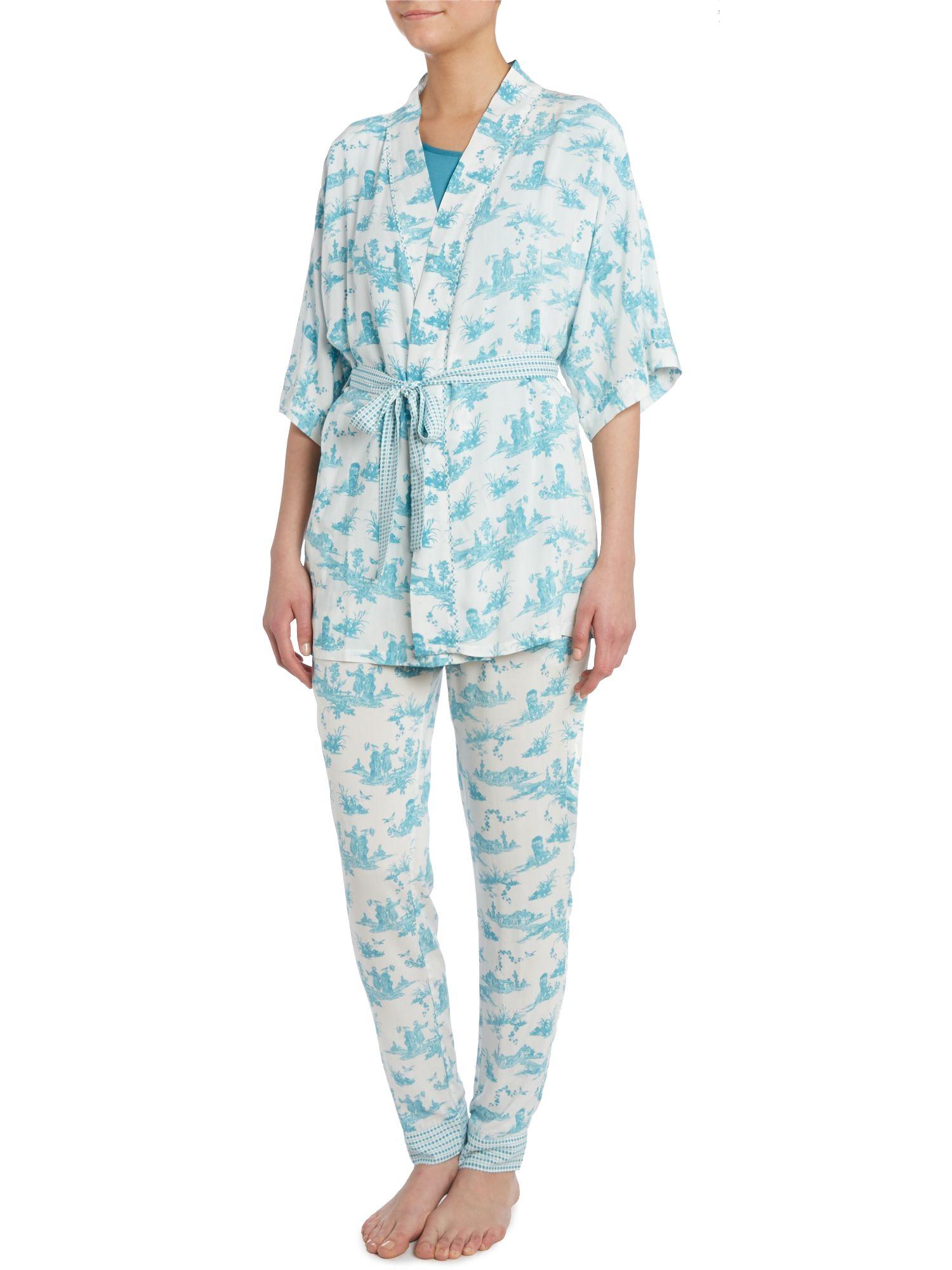 linea toile de jour print kimono robe in blue lyst. Black Bedroom Furniture Sets. Home Design Ideas