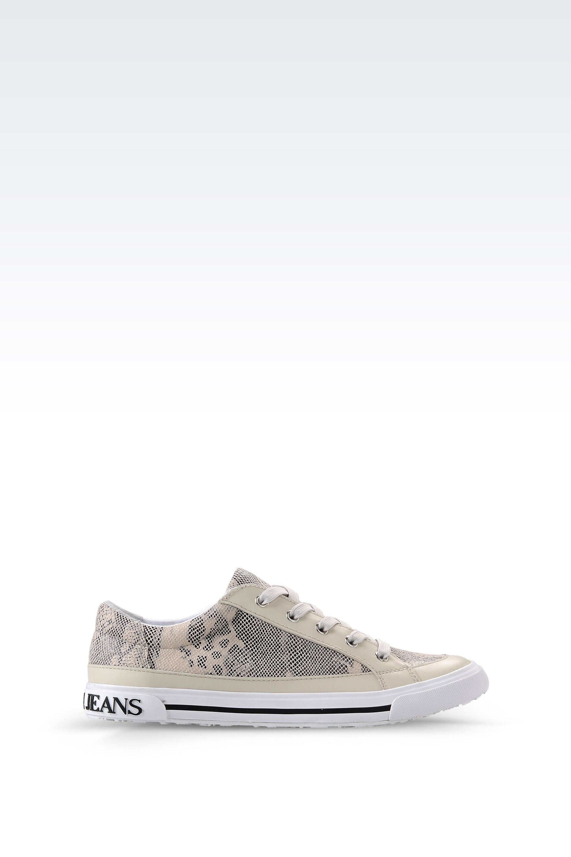 armani jeans sneaker in snake print faux leather in natural lyst. Black Bedroom Furniture Sets. Home Design Ideas