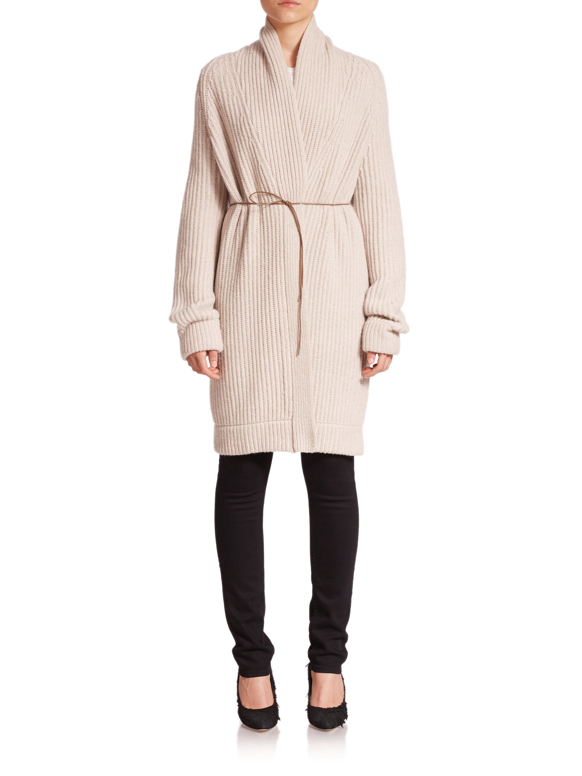 282765918 Lyst - Helmut Lang Wool   Cashmere Belted Long Cardigan in Natural