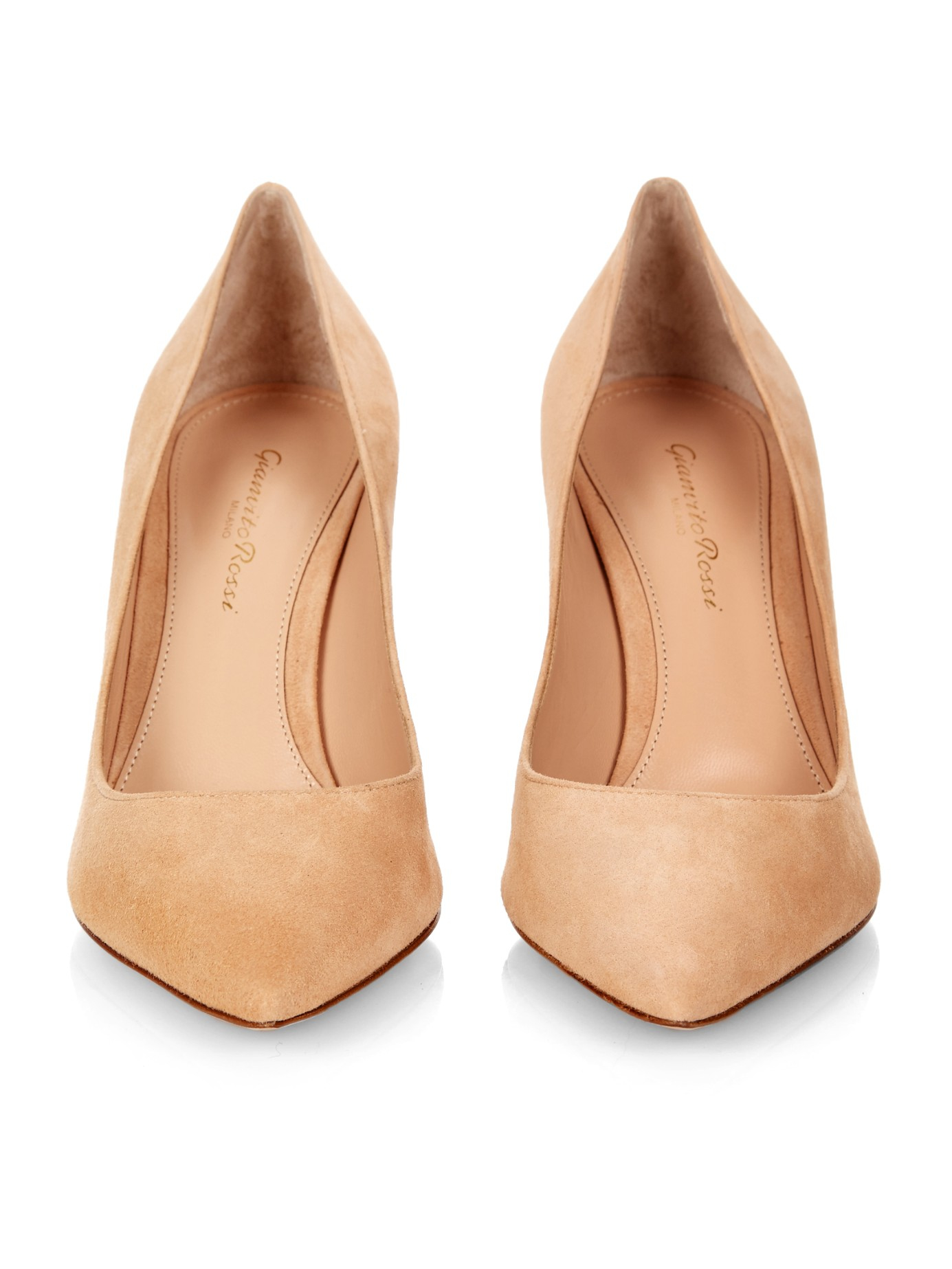 558aeed40c0 Lyst - Gianvito Rossi Business Pointed-Toe Suede Pumps in Natural