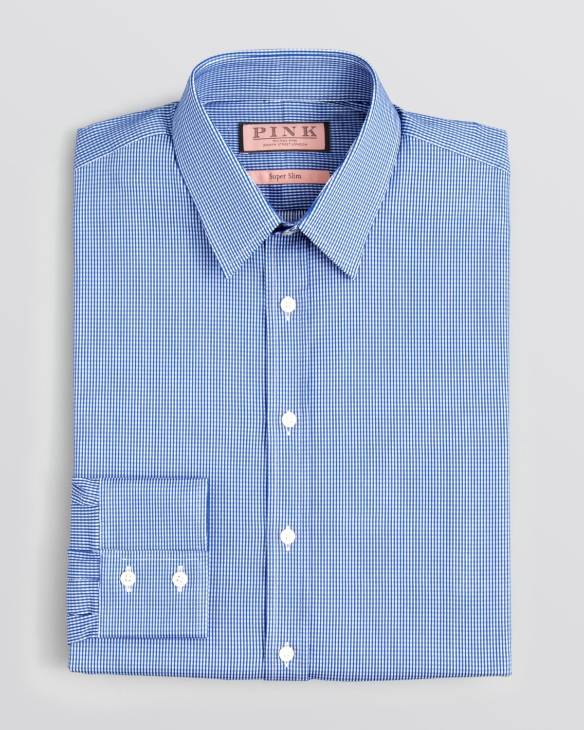 Thomas pink lydiard check dress shirt slim fit in blue for for Pink checkered dress shirt