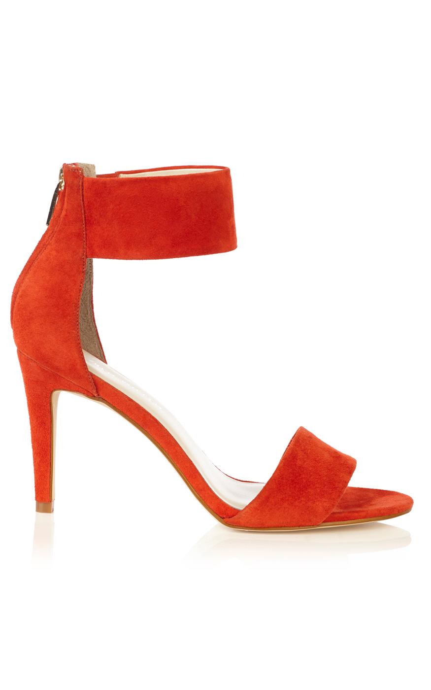 3996ace46e7 Karen Millen Ankle Cuff Mid Heel Sandal in Orange - Lyst