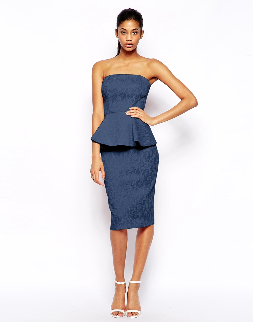 asos blue texture peplum bandeau midi product 1 21073055 1 674900659 normal