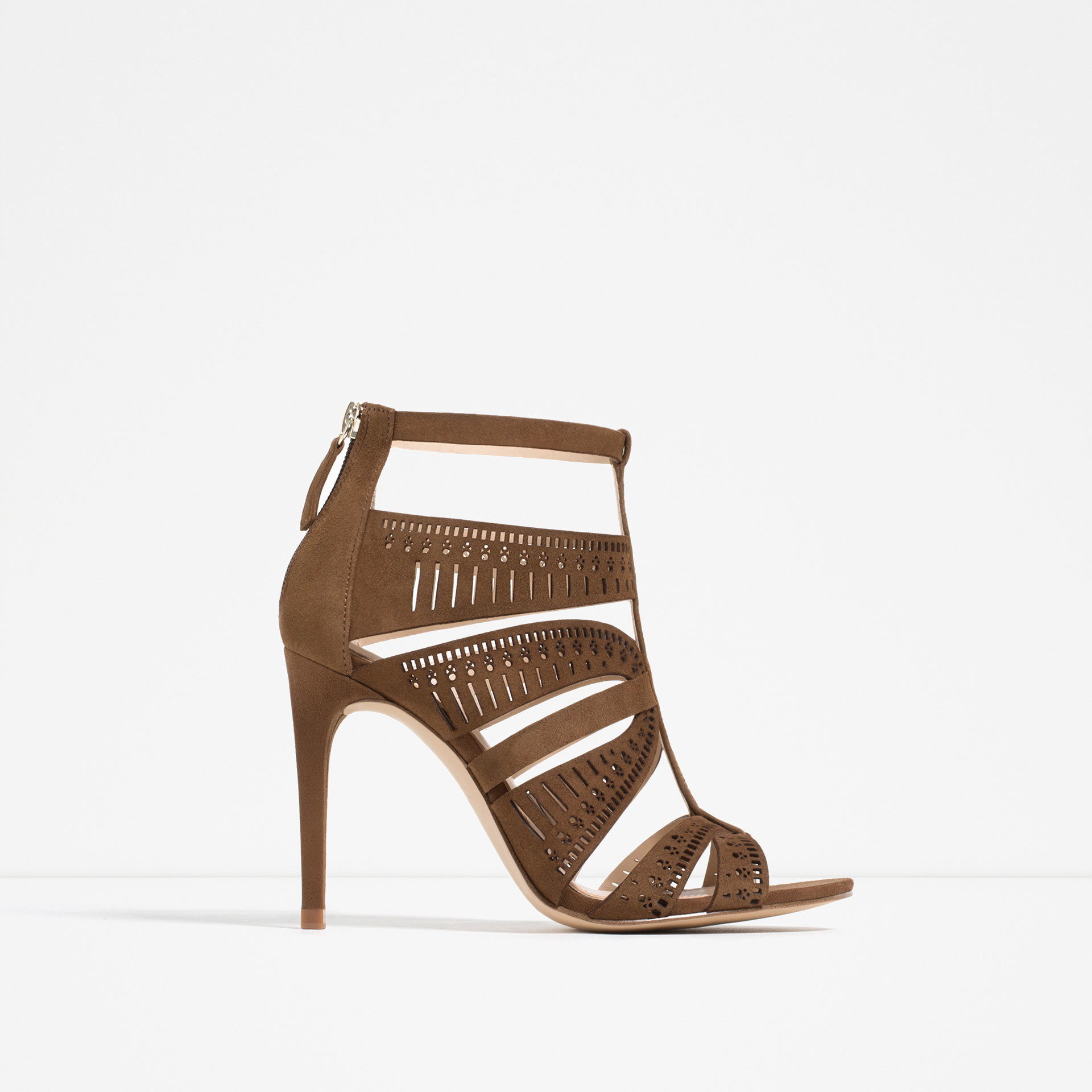 Zara Leather Strappy High Heel Sandals in Natural | Lyst