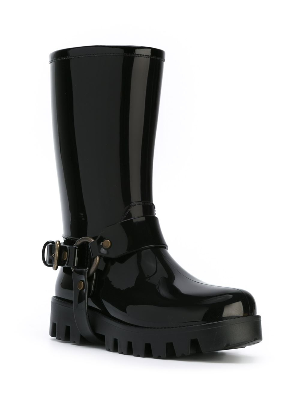 Dolce & gabbana Laminated Short Rain Boots in Black | Lyst