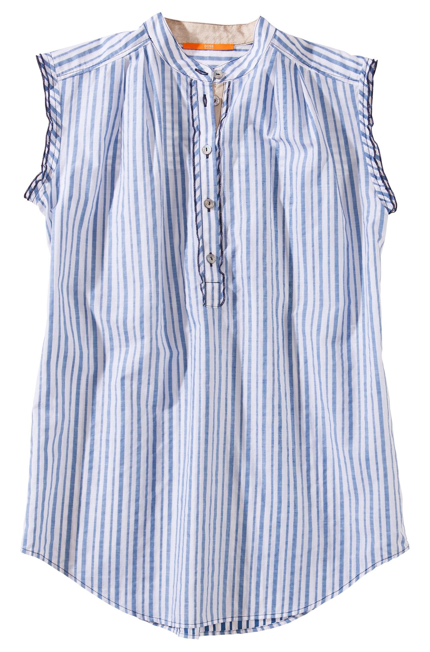lyst boss orange sleeveless blouse cacitane in cotton in blue. Black Bedroom Furniture Sets. Home Design Ideas