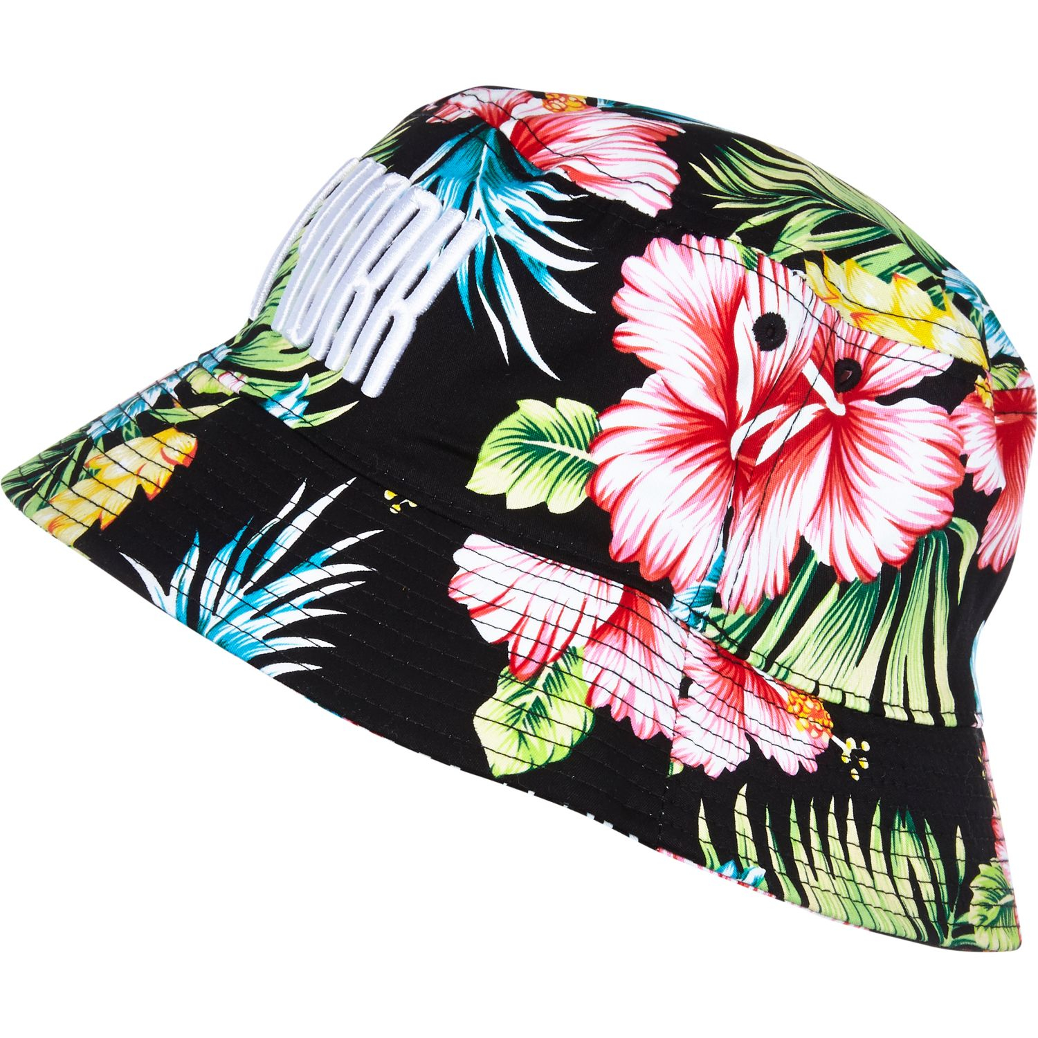 River Island Black Floral Print New York Bucket Hat in Black for Men ... 5038a8ffebe