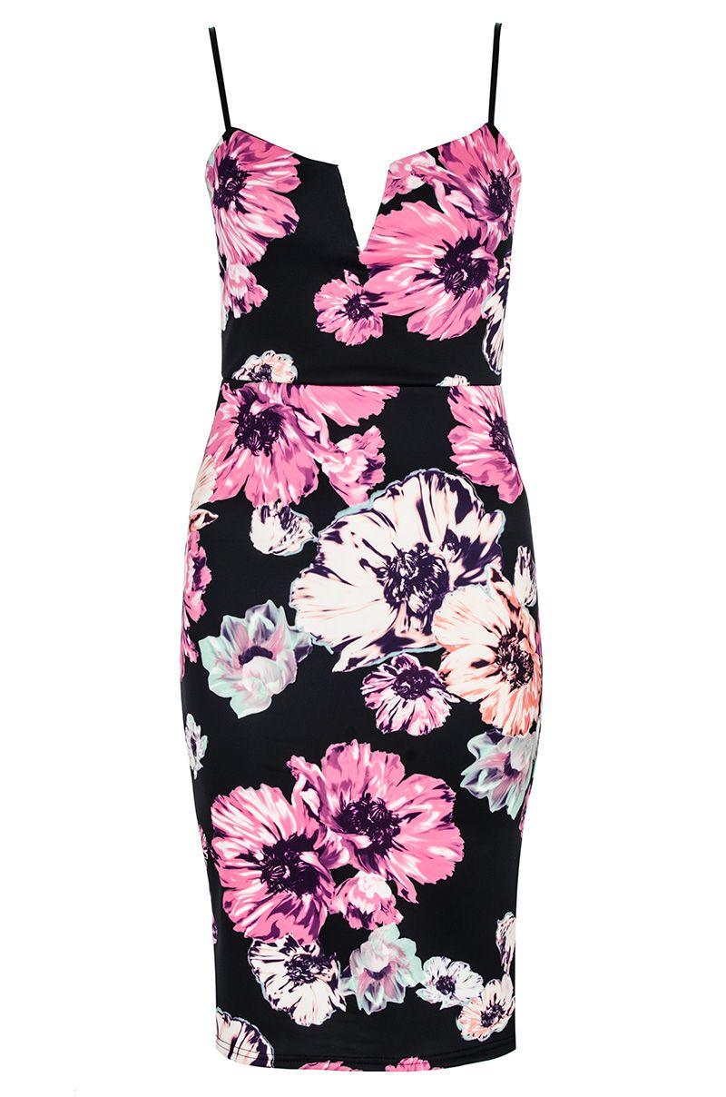 Quiz Black Floral Print Strap Midi Dress In Black Lyst