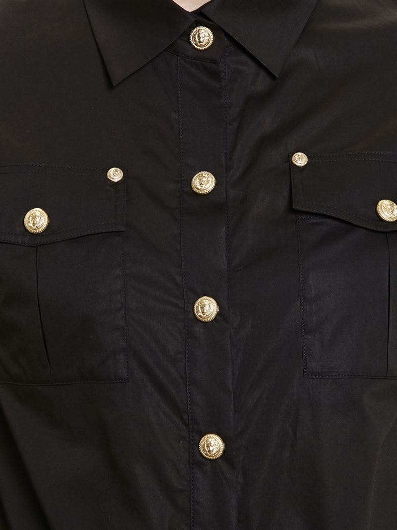4da4276d433 Balmain Shirt With Gold Buttons in Black - Lyst