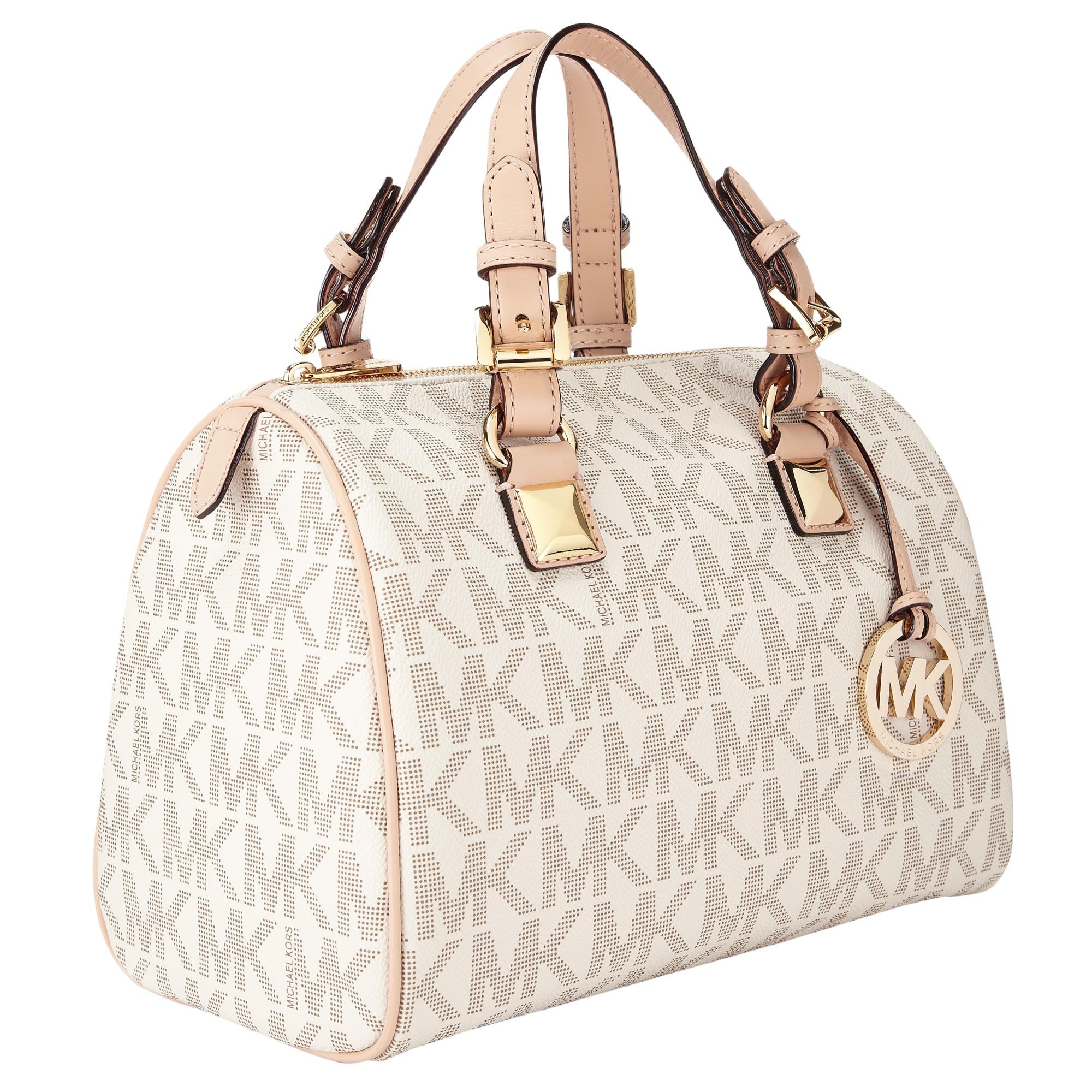 f6f09d80e98e ... discount michael michael kors grayson satchel bag in white lyst 0fc85  f25db