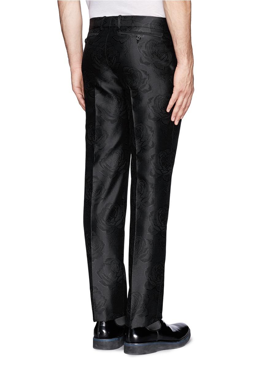Alexander Mcqueen Rose Jacquard Silk Pants In Black For
