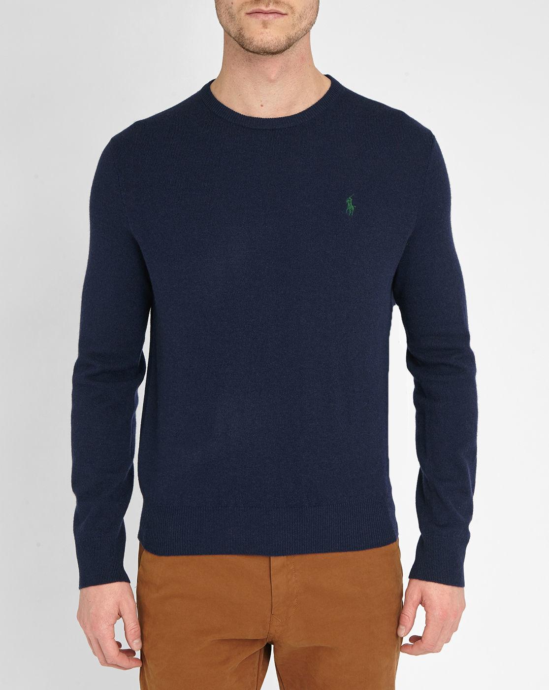 polo ralph lauren navy pr merino wool sweater in blue for men lyst. Black Bedroom Furniture Sets. Home Design Ideas