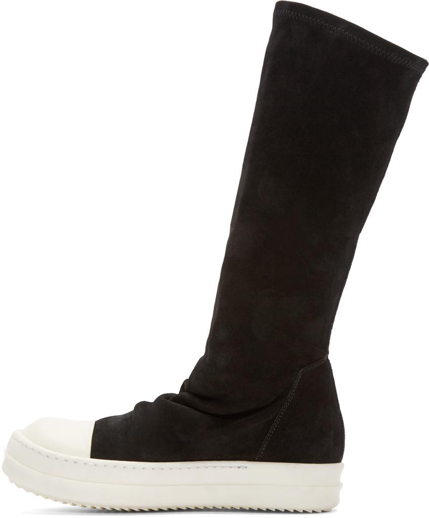 Rick owens Women's Suede Sock Sneakers In Black in Black ...