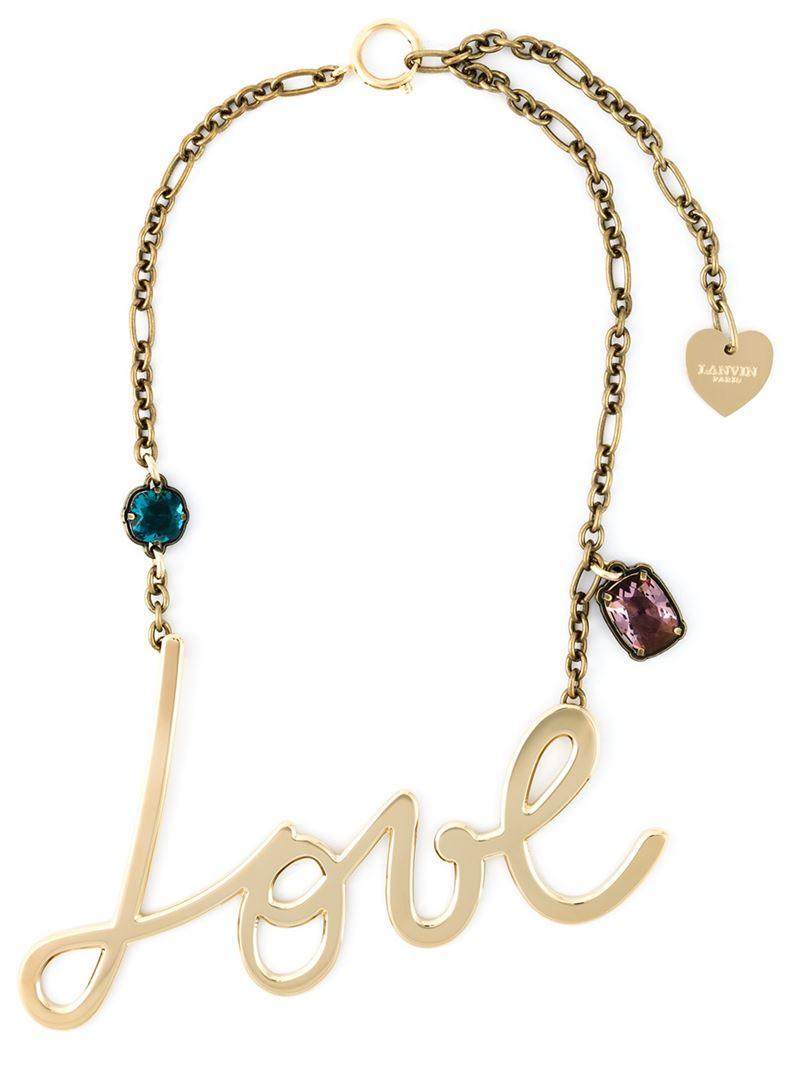 Lyst Lanvin Love Necklace In Metallic
