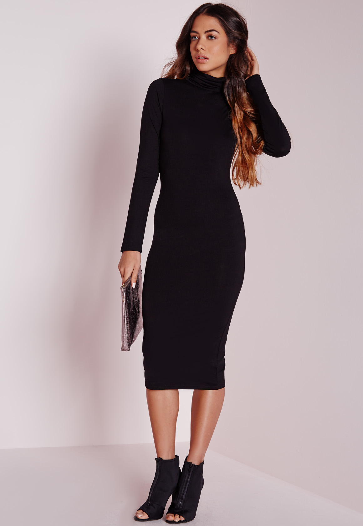 Missguided Long Sleeve Roll Neck Jersey Midi Dress Black