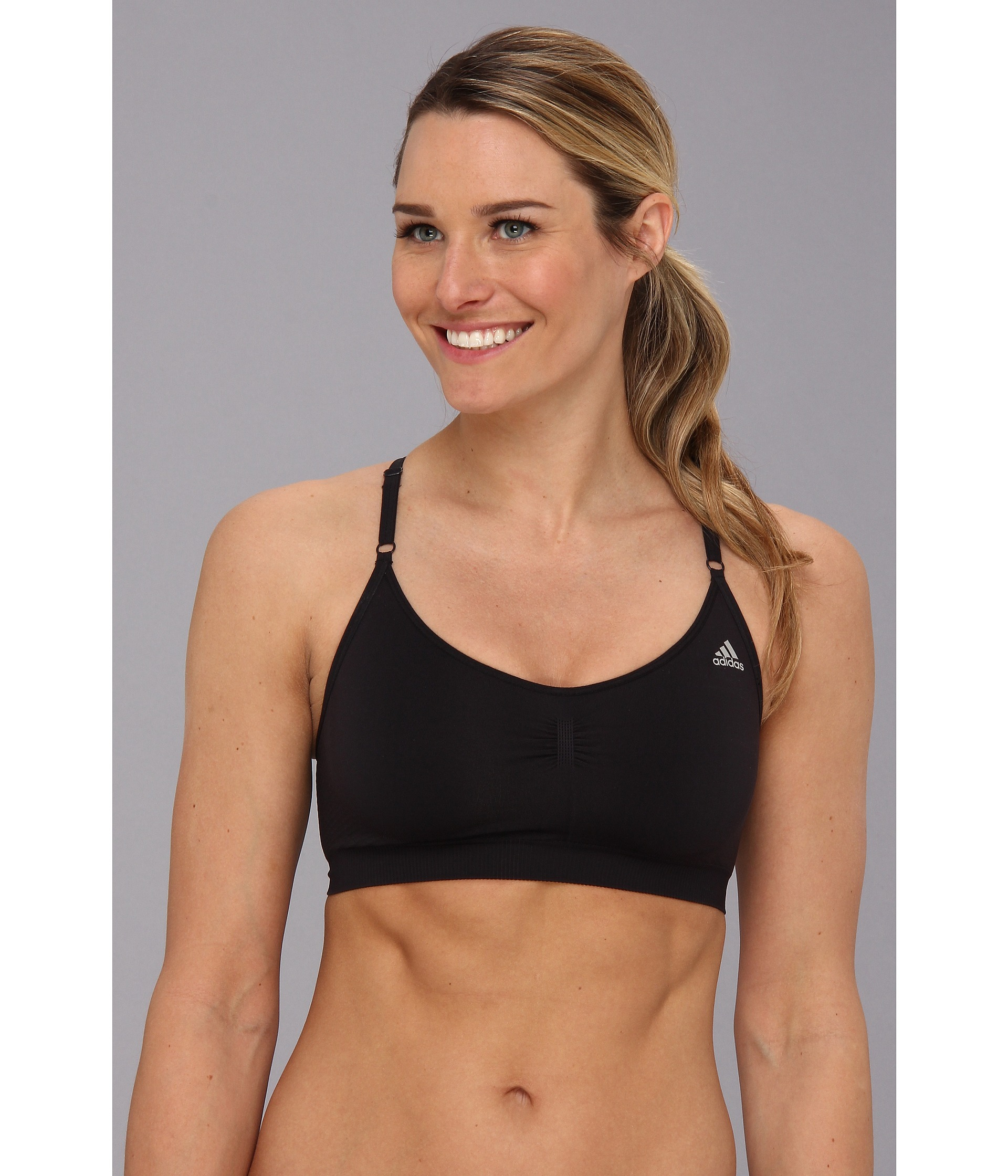 77a8700161 Lyst - adidas Adipure Seamless Bra in Black