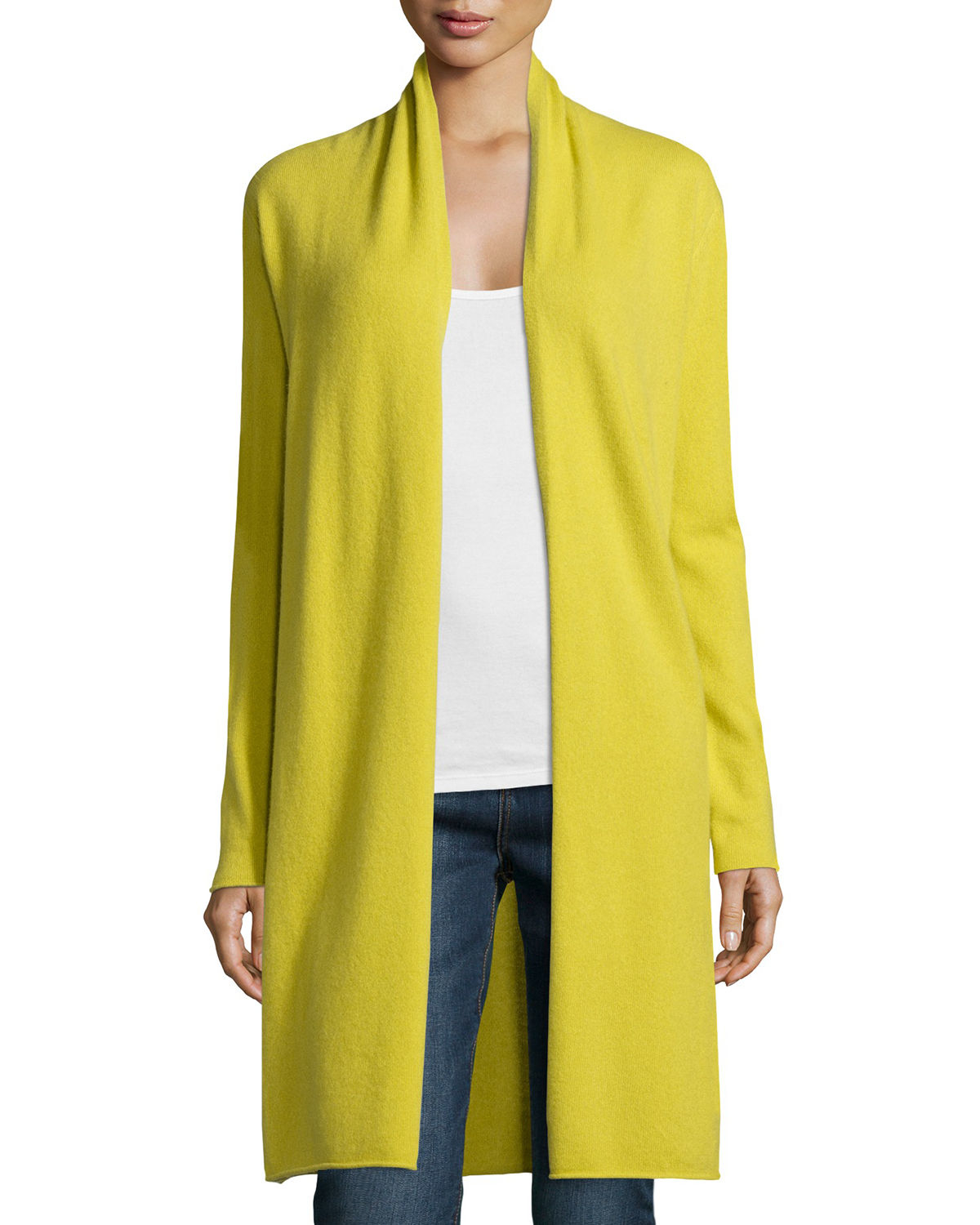 Neiman marcus Long Cashmere Duster Cardigan in Yellow | Lyst