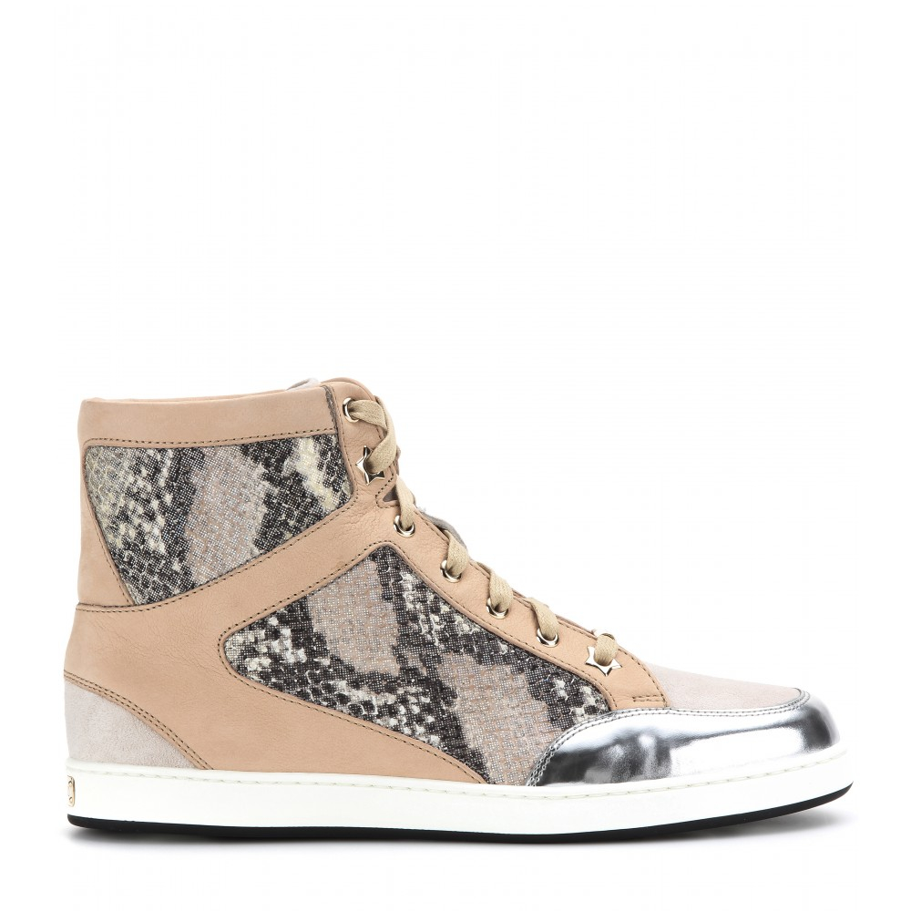 Jimmy Choo Woman Berlin Canvas And Embossed Leather High-top Sneakers White Size 40 Jimmy Choo London vCKyR