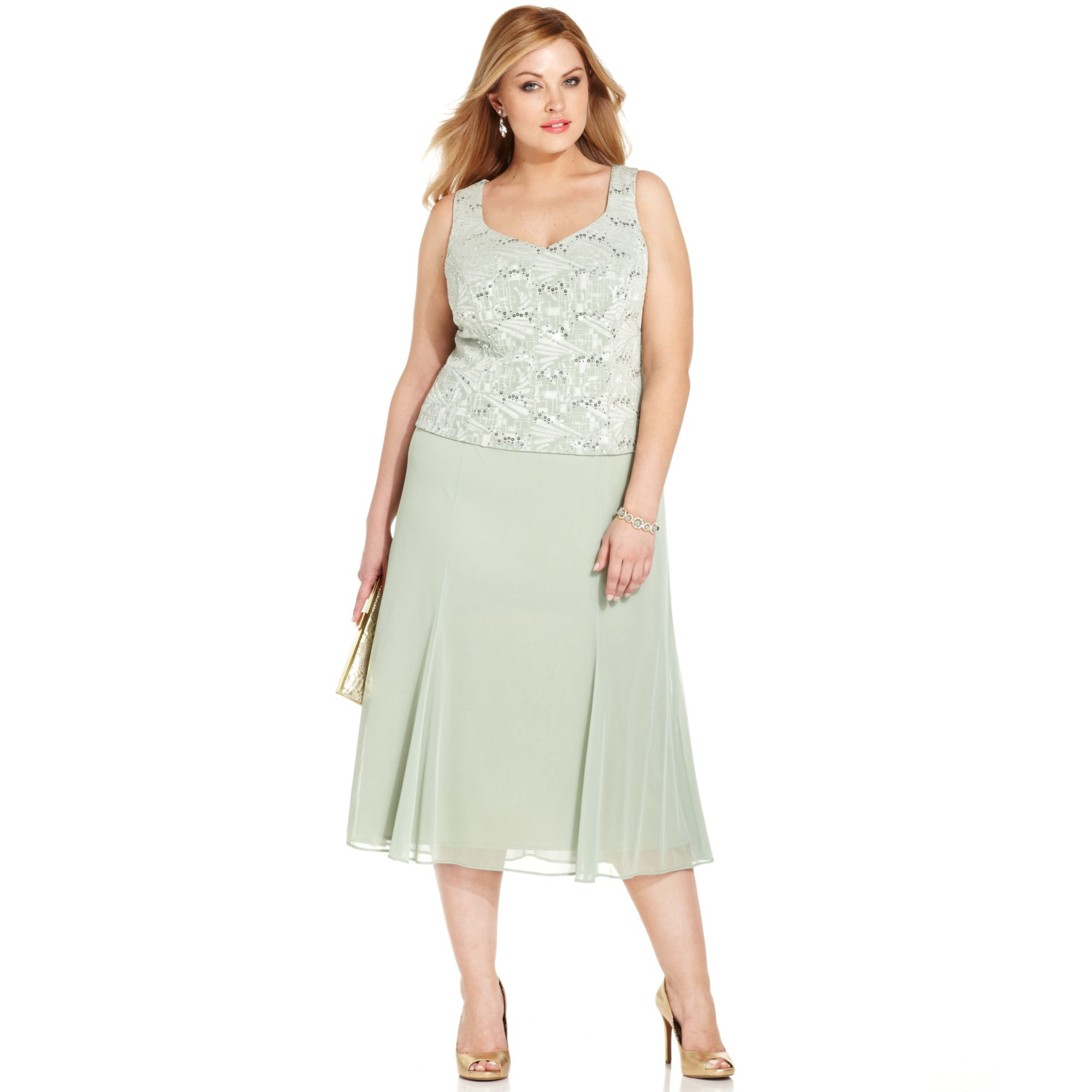 c3cf6bc4496 Alex Evenings Plus Size Sequin Jacquard Dress and Jacket in Green - Lyst