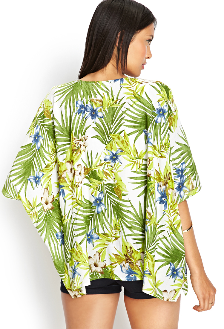 Lyst - Forever 21 Tropical Print Kimono Jacket in Green