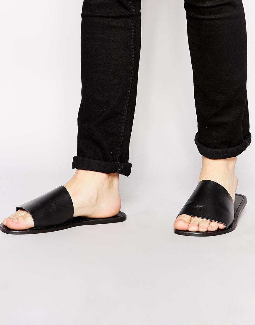 f34e666d4 Lyst - ASOS Slide Sandals In Leather in Black for Men