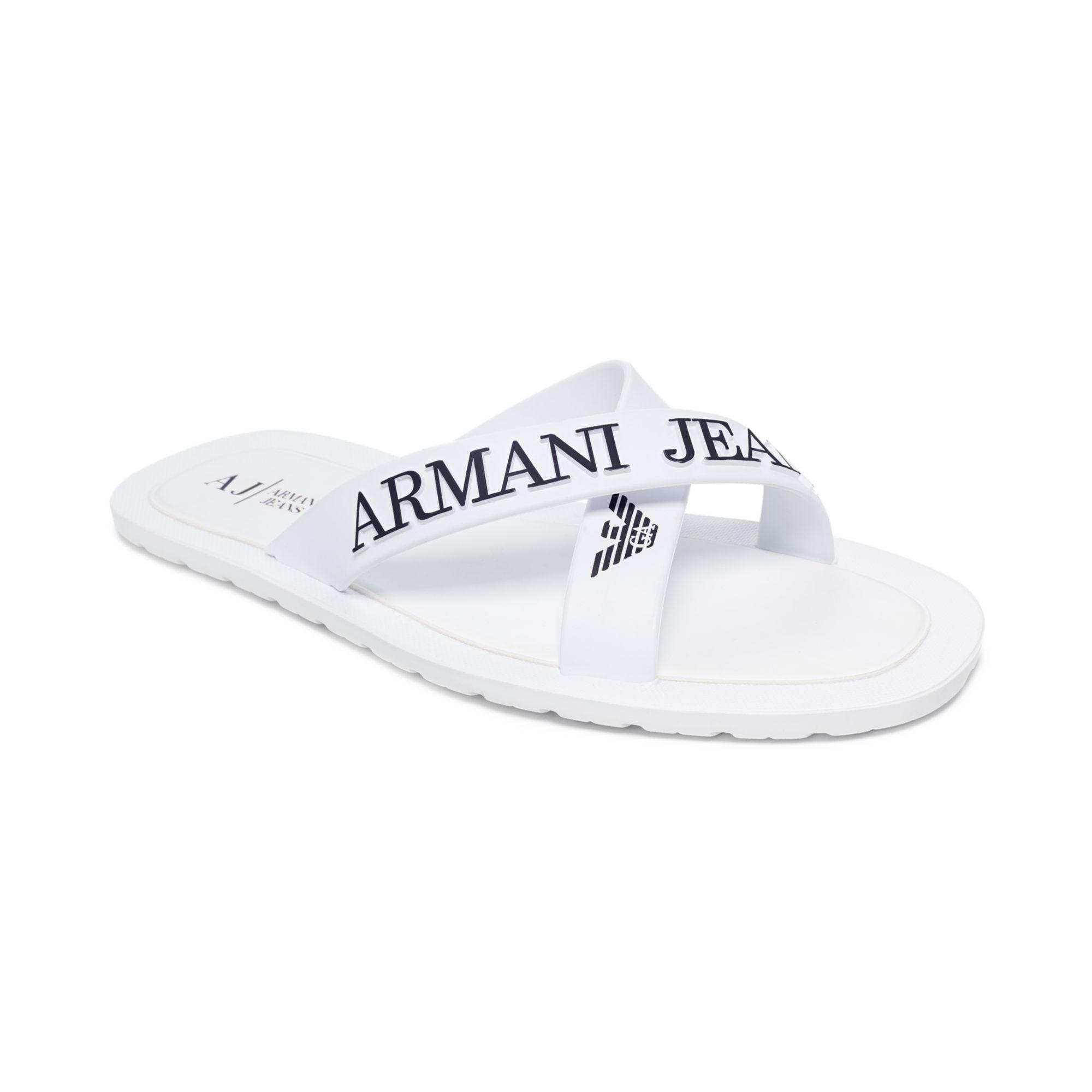 ba8715de6a31 Armani Jeans Logo Sandals in White for Men - Lyst