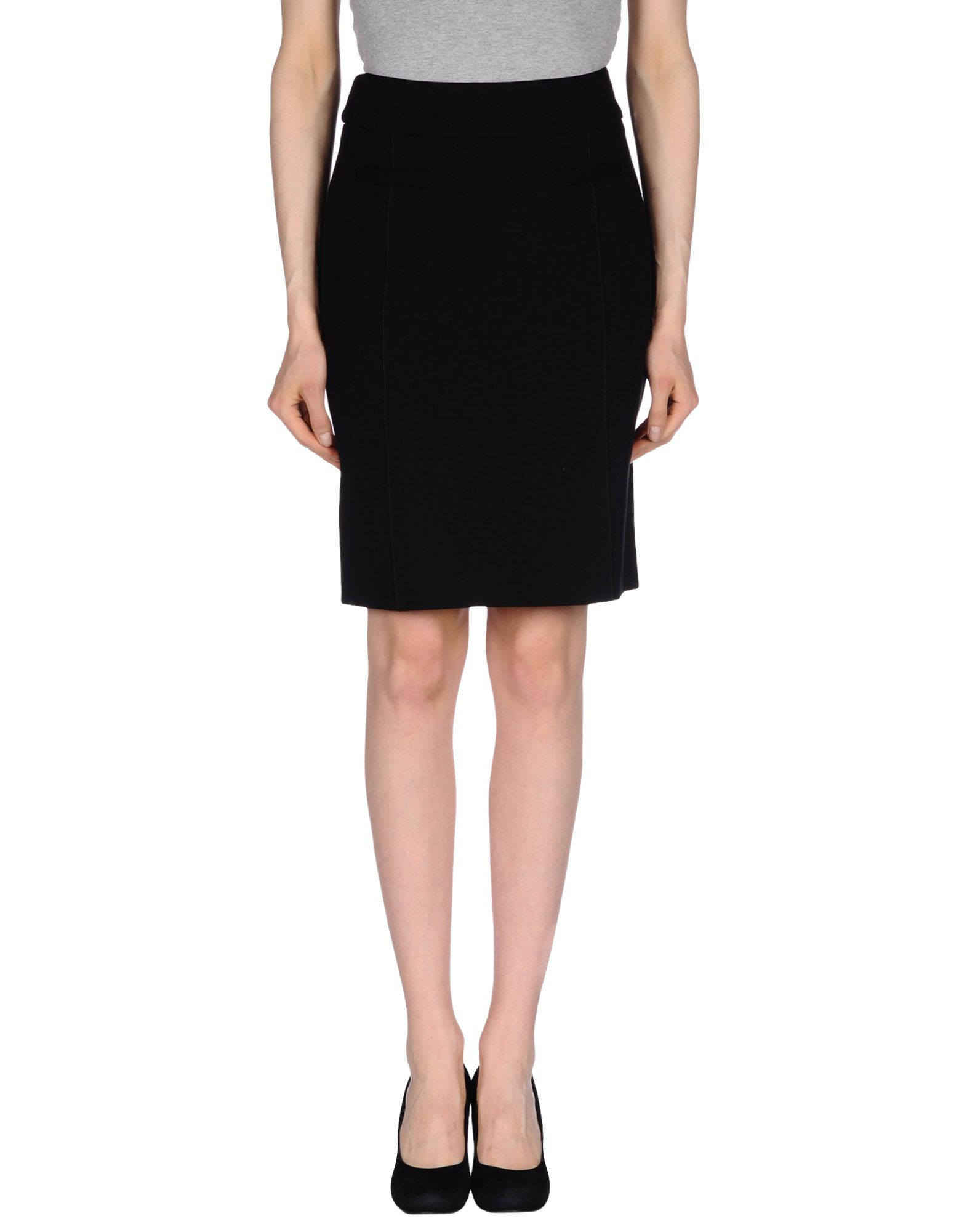peserico knee length skirt in black lyst