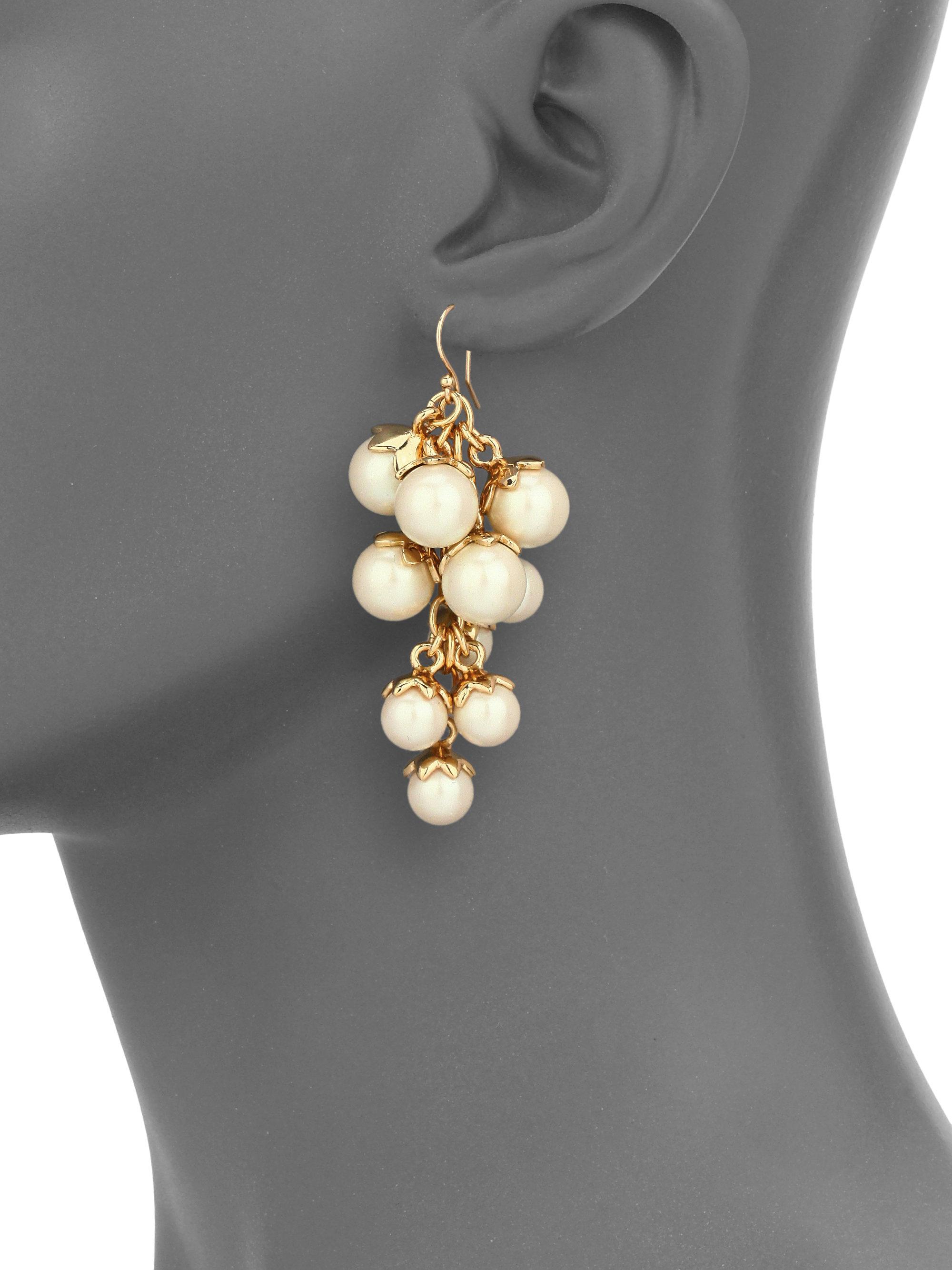 Lyst kate spade new york petaled faux pearl chandelier earrings gallery arubaitofo Gallery