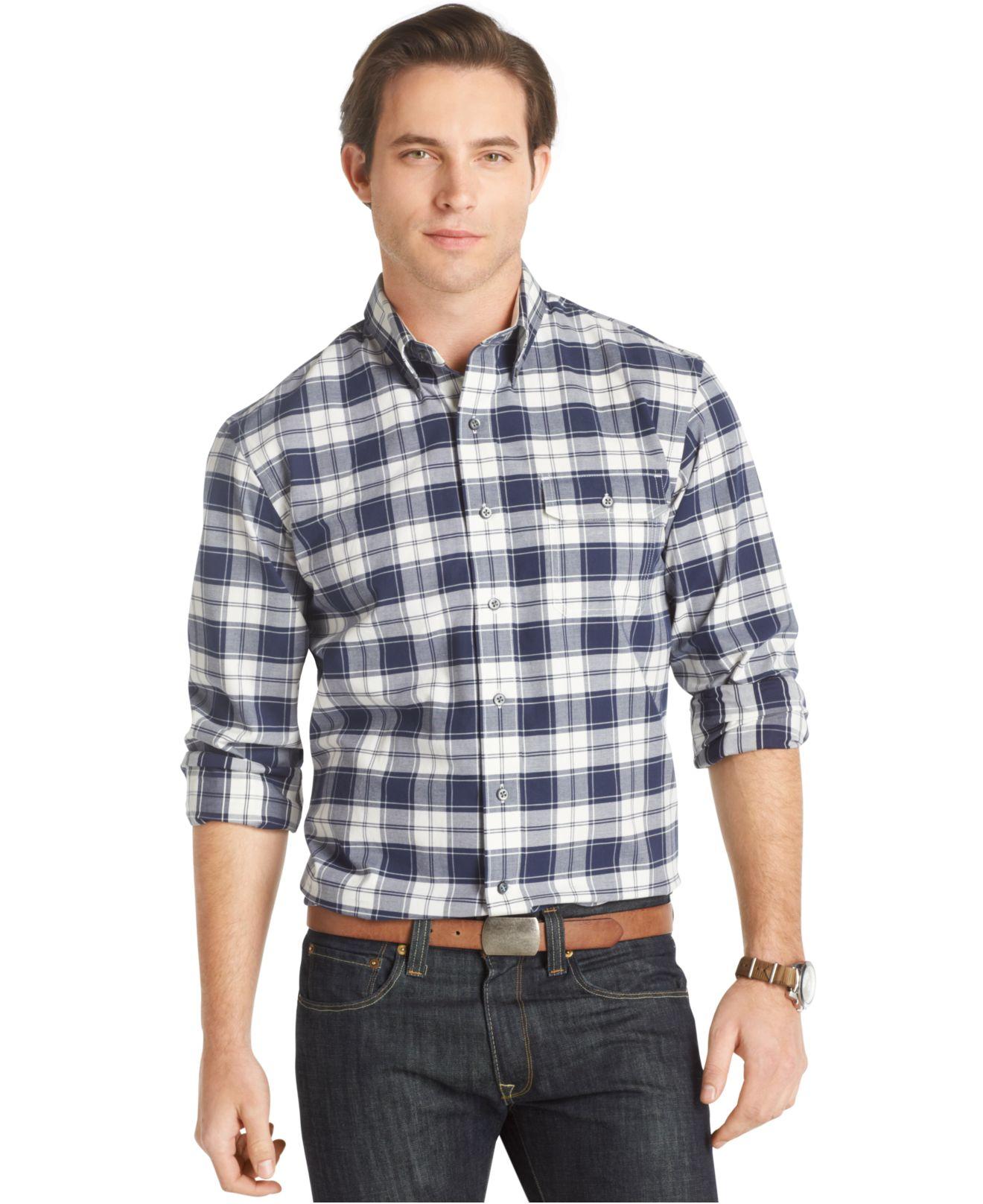 Izod big and tall stratton plaid twill shirt in blue for for Izod big and tall shirts
