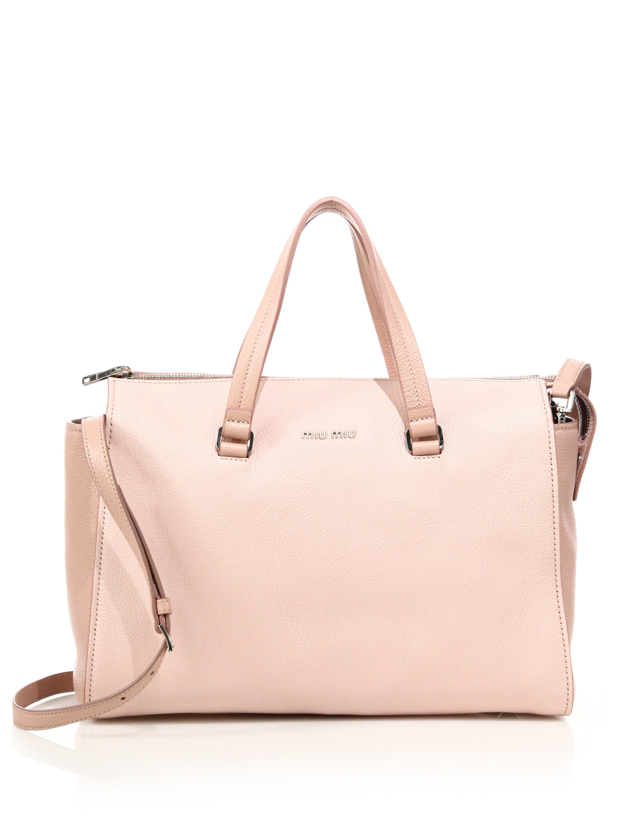 Lyst - Miu Miu Madras Two-tone Leather Zip Satchel in Pink ead7283baf133