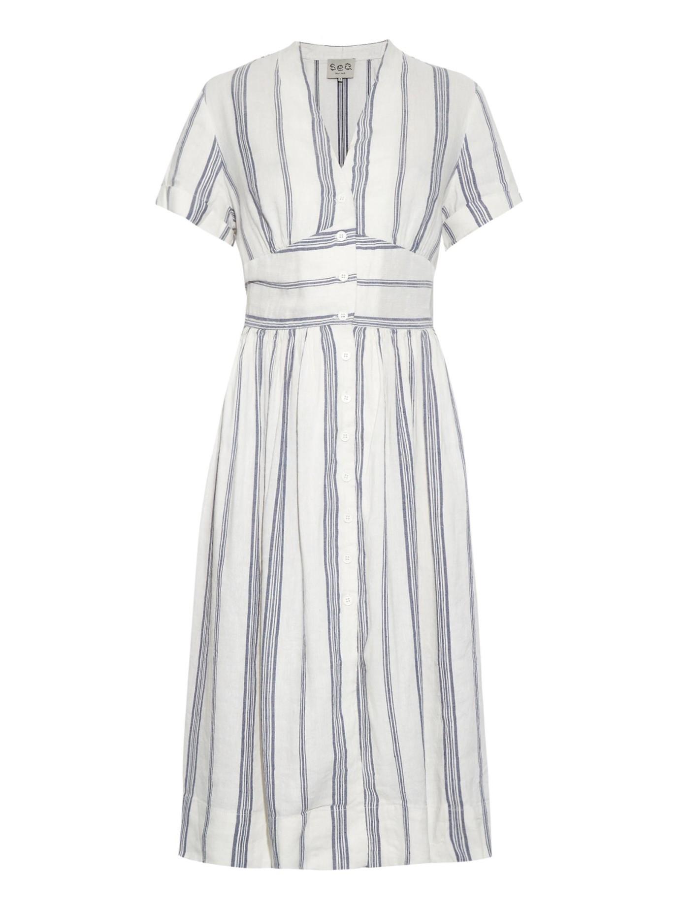 Lyst - Sea Striped Linen-Blend Dress