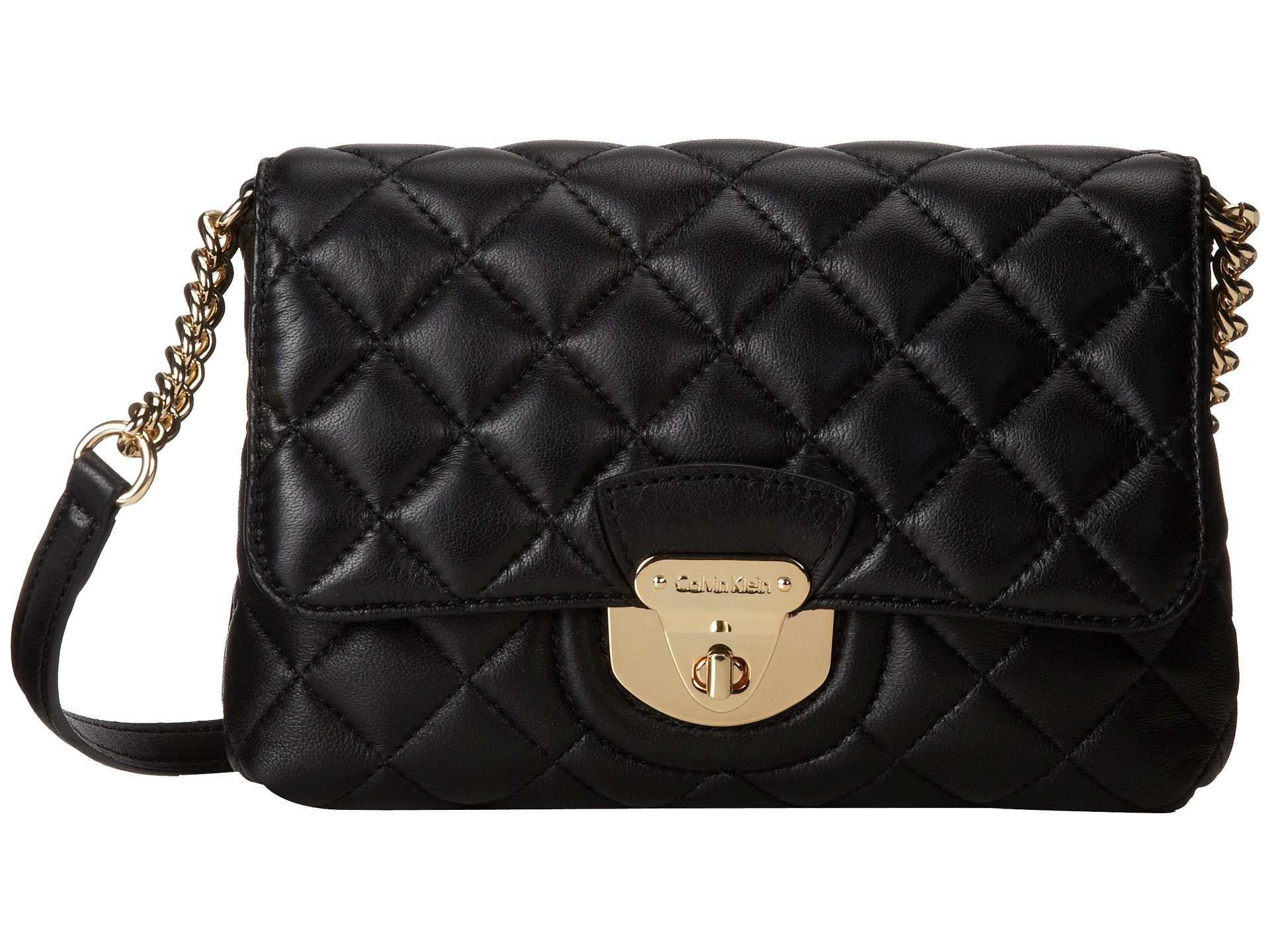 b81fb4e09986 Lyst Calvin Klein Quilted Lamb Leather Crossbody In Metallic. Black Quilted  Leather Crossbody Bags ...